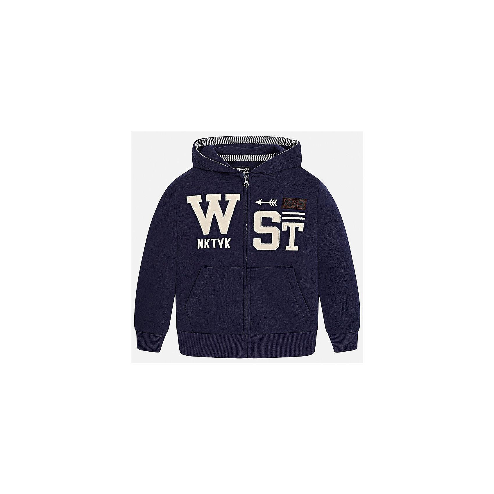 Куртка для мальчика MayoralТолстовки<br>Характеристики товара:<br><br>• цвет: темно-синий;<br>• состав ткани: 60% хлопок, 40% полиэстер;<br>• с капюшоном;<br>• с мягким внутренним начесом;<br>• кенгуру-карман спереди;<br>• сезон: демисезон;<br>• страна бренда: Испания;<br>• страна изготовитель:Бангладеш.<br><br>Толстовка для мальчика от популярного бренда Mayoral с незначительным мягким начесом, очень приятного на ощупь и практичного в носке. Модель застягивается на молнию,  украшена контрастным принтом  спереди, дополнена удобным боковыми карманами, а также широкими эластичными резинками на манжетах и по нижнему краю.<br><br>Трикотажная тостовка Mayoral смотрится стильно и аккуратно, идеально подойдет для повседневной одежды  и прекрасно сочетается с различными предметами гардероба.<br><br>Для производства детской одежды популярный бренд Mayoral используют только качественную фурнитуру и материалы. Оригинальные и модные вещи от Майорал неизменно привлекают внимание и нравятся детям.<br><br>Толстовку для мальчика для мальчика Mayoral (Майорал) можно купить в нашем интернет-магазине.<br><br>Ширина мм: 356<br>Глубина мм: 10<br>Высота мм: 245<br>Вес г: 519<br>Цвет: черный<br>Возраст от месяцев: 168<br>Возраст до месяцев: 180<br>Пол: Мужской<br>Возраст: Детский<br>Размер: 170,128/134,140,152,158,164<br>SKU: 6938680