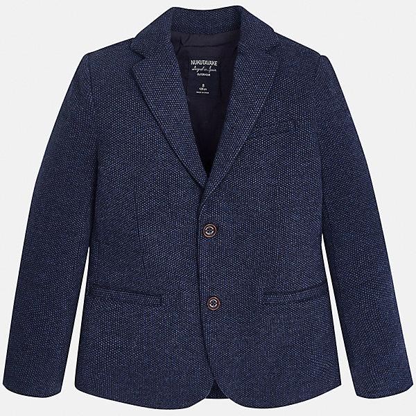 Пиджак для мальчика MayoralПиджаки и костюмы<br>Характеристики товара:<br><br>• цвет: синий;<br>• стиль: школа<br>• состав ткани: 60% хлопок, 40% полиэстер;<br>• отложный воротник;<br>• на пуговицах;<br>• передние карманы;<br>• сезон: демисезон;<br>• страна бренда: Испания;<br>• страна изготовитель: Китай.<br><br>Пиджак для мальчика от популярного бренда Mayoral на подкладке, выполнен из приятной на ощупь ткани, застёгивается на пуговицы. Однотонная модель синего цвета дополнена двумя декоративными передними карманами.<br><br>Стильный пиджак выгодно подчеркнёт повседневный и школьный образ ребёнка, смотрится аккуратно и нарядно. Замечательно комбинируется со многими предметами гардероба.<br><br>Для производства детской одежды популярный бренд Mayoral используют только качественную фурнитуру и материалы. Оригинальные и модные вещи от Майорал неизменно привлекают внимание и нравятся детям.<br><br>Пиджак для мальчика  Mayoral (Майорал) можно купить в нашем интернет-магазине.<br>Ширина мм: 190; Глубина мм: 74; Высота мм: 229; Вес г: 236; Цвет: синий; Возраст от месяцев: 96; Возраст до месяцев: 108; Пол: Мужской; Возраст: Детский; Размер: 128/134,170,164,158,152,140; SKU: 6938761;