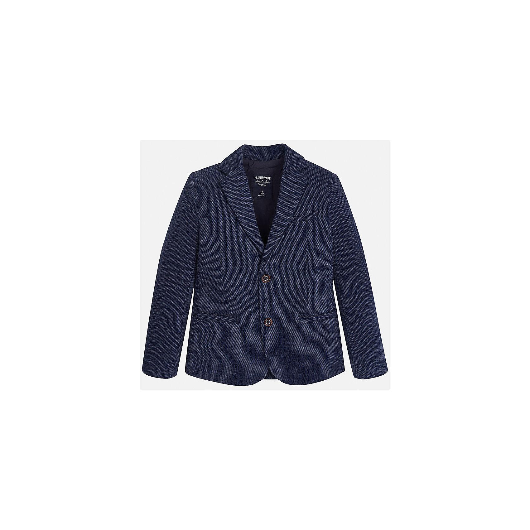 Пиджак для мальчика MayoralПиджаки и костюмы<br>Характеристики товара:<br><br>• цвет: синий;<br>• стиль: школа<br>• состав ткани: 60% хлопок, 40% полиэстер;<br>• отложный воротник;<br>• на пуговицах;<br>• передние карманы;<br>• сезон: демисезон;<br>• страна бренда: Испания;<br>• страна изготовитель: Китай.<br><br>Пиджак для мальчика от популярного бренда Mayoral на подкладке, выполнен из приятной на ощупь ткани, застёгивается на пуговицы. Однотонная модель синего цвета дополнена двумя декоративными передними карманами.<br><br>Стильный пиджак выгодно подчеркнёт повседневный и школьный образ ребёнка, смотрится аккуратно и нарядно. Замечательно комбинируется со многими предметами гардероба.<br><br>Для производства детской одежды популярный бренд Mayoral используют только качественную фурнитуру и материалы. Оригинальные и модные вещи от Майорал неизменно привлекают внимание и нравятся детям.<br><br>Пиджак для мальчика  Mayoral (Майорал) можно купить в нашем интернет-магазине.<br><br>Ширина мм: 190<br>Глубина мм: 74<br>Высота мм: 229<br>Вес г: 236<br>Цвет: синий<br>Возраст от месяцев: 168<br>Возраст до месяцев: 180<br>Пол: Мужской<br>Возраст: Детский<br>Размер: 170,128/134,140,152,158,164<br>SKU: 6938761