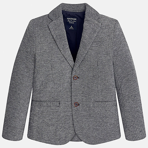 Пиджак для мальчика MayoralПиджаки и костюмы<br>Характеристики товара:<br><br>• цвет: серый;<br>• стиль: школа;<br>• состав ткани: 60% хлопок, 40% полиэстер;<br>• отложный воротник;<br>• на пуговицах;<br>• передние карманы;<br>• сезон: демисезон;<br>• страна бренда: Испания;<br>• страна изготовитель: Китай.<br><br>Пиджак для мальчика от популярного бренда Mayoral на подкладке, выполнен из приятной на ощупь ткани, застёгивается на пуговицы. Однотонная модель серого цвета дополнена двумя декоративными передними карманами.<br><br>Стильный пиджак выгодно подчеркнёт повседневный и школьный образ ребёнка, смотрится аккуратно и нарядно. Замечательно комбинируется со многими предметами гардероба.<br><br>Для производства детской одежды популярный бренд Mayoral используют только качественную фурнитуру и материалы. Оригинальные и модные вещи от Майорал неизменно привлекают внимание и нравятся детям.<br><br>Пиджак для мальчика  Mayoral (Майорал) можно купить в нашем интернет-магазине.<br><br>Ширина мм: 190<br>Глубина мм: 74<br>Высота мм: 229<br>Вес г: 236<br>Цвет: серый<br>Возраст от месяцев: 144<br>Возраст до месяцев: 156<br>Пол: Мужской<br>Возраст: Детский<br>Размер: 158,152,140,128/134,170,164<br>SKU: 6938768