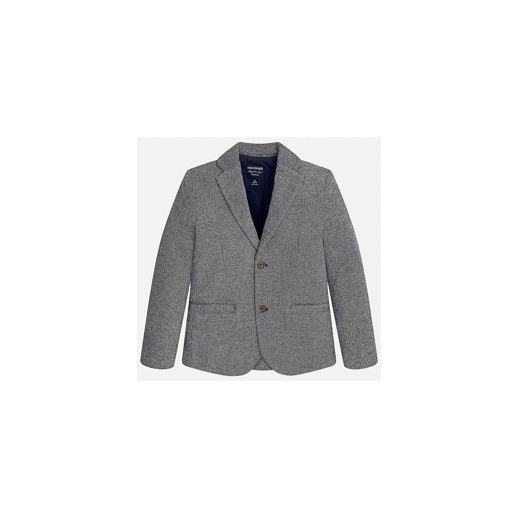 Пиджак для мальчика MayoralПиджаки и костюмы<br>Характеристики товара:<br><br>• цвет: серый;<br>• стиль: школа;<br>• состав ткани: 60% хлопок, 40% полиэстер;<br>• отложный воротник;<br>• на пуговицах;<br>• передние карманы;<br>• сезон: демисезон;<br>• страна бренда: Испания;<br>• страна изготовитель: Китай.<br><br>Пиджак для мальчика от популярного бренда Mayoral на подкладке, выполнен из приятной на ощупь ткани, застёгивается на пуговицы. Однотонная модель серого цвета дополнена двумя декоративными передними карманами.<br><br>Стильный пиджак выгодно подчеркнёт повседневный и школьный образ ребёнка, смотрится аккуратно и нарядно. Замечательно комбинируется со многими предметами гардероба.<br><br>Для производства детской одежды популярный бренд Mayoral используют только качественную фурнитуру и материалы. Оригинальные и модные вещи от Майорал неизменно привлекают внимание и нравятся детям.<br><br>Пиджак для мальчика  Mayoral (Майорал) можно купить в нашем интернет-магазине.<br><br>Ширина мм: 190<br>Глубина мм: 74<br>Высота мм: 229<br>Вес г: 236<br>Цвет: серый<br>Возраст от месяцев: 168<br>Возраст до месяцев: 180<br>Пол: Мужской<br>Возраст: Детский<br>Размер: 170,128/134,140,152,158,164<br>SKU: 6938768