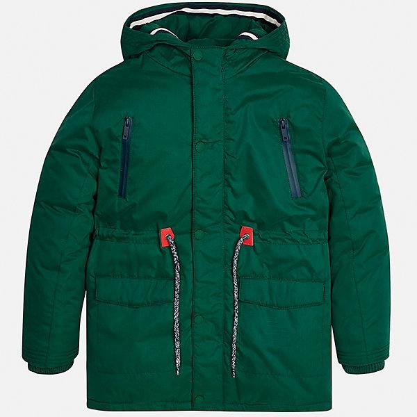 Куртка для мальчика MayoralВерхняя одежда<br>Характеристики товара:<br><br>• цвет: зеленый;<br>• сезон: демисезон;<br>• температурный режим: от 0 до +10С;<br>• состав ткани: 100% полиэстер;<br>• состав подкладки: 100% полиэстер;<br>• на молнии и на кнопках;<br>• фасон: парка;<br>• регулируемая талия на шнурке;<br>• капюшон:   не отстегивается, без меха;<br>• страна бренда: Испания;<br>• страна изготовитель: Китай.<br><br>Утепленная демисезонная куртка для мальчика от популярного бренда Mayoral,  модный фасон - парка  несомненно понравится вам и вашему ребенку. Качественные ткани, безупречное исполнение, все модели в центре модных тенденций. <br><br>Удлиненная модель яркого зеленого цвета выполнена из мягкой плащевой ткани и внутреннего утеплителя, обеспечивающие хорошую воздухопроницаемую защиту и тепло,  рукава и пояс на внутренних элестичных манжетах. Застегивается на молнию и на кнопки, для большего комфорта талия регулируется утяжкой на шнурке. Капюшон  не отстегивается,  верхние передние карманы на молнии и нижние передние карманы на кнопках. Декорирована контрастной оконтовко и нашивкой-логотипом на рукаве.<br><br>Легкая и теплая куртка-парка с капюшоном и карманами на холодную осень-весну. Грамотный крой изделия обеспечивает отличную посадку по фигуре. Все эти преимущества делают данную модель незаменимой для активных прогулок и повседневной носки.<br><br>Утепленную демисезонную куртку-парку  для мальчика Mayoral (Майорал) можно купить в нашем интернет-магазине.<br><br>Ширина мм: 356<br>Глубина мм: 10<br>Высота мм: 245<br>Вес г: 519<br>Цвет: зеленый<br>Возраст от месяцев: 168<br>Возраст до месяцев: 180<br>Пол: Мужской<br>Возраст: Детский<br>Размер: 170,158,152,140,128/134,164<br>SKU: 6938803