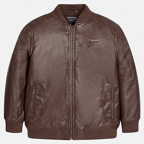 Куртка для мальчика MayoralВерхняя одежда<br>Характеристики товара:<br><br>• цвет: коричневый;<br>• сезон: демисезон;<br>• температурный режим: от 0 до +10С;<br>• состав ткани: 100% полиэстер;<br>• состав подкладки: 100% полиэстер;<br>• воротник-стойка;<br>• на молнии;<br>• страна бренда: Испания;<br>• страна изготовитель: Китай.<br><br>Куртка для мальчика от популярного бренда Mayoral несомненно понравится вам и вашему ребенку. Качественные ткани, безупречное исполнение, все модели в центре модных тенденций.  <br><br>Легкая и стильная куртка на молнии с карманами дополнена эластичными широкими манжетами на рукавах, вороте и снизу. Застегивается на безопасную молнию. Грамотный крой изделия обеспечивает отличную посадку по фигуре. Современная и элегантная модель выгодно сочитается с любыми предметами детского гардероба.<br><br>Куртку  для мальчика Mayoral (Майорал) можно купить в нашем интернет-магазине.<br>Ширина мм: 356; Глубина мм: 10; Высота мм: 245; Вес г: 519; Цвет: коричневый; Возраст от месяцев: 156; Возраст до месяцев: 168; Пол: Мужской; Возраст: Детский; Размер: 164,128/134,170,158,152,140; SKU: 6938880;
