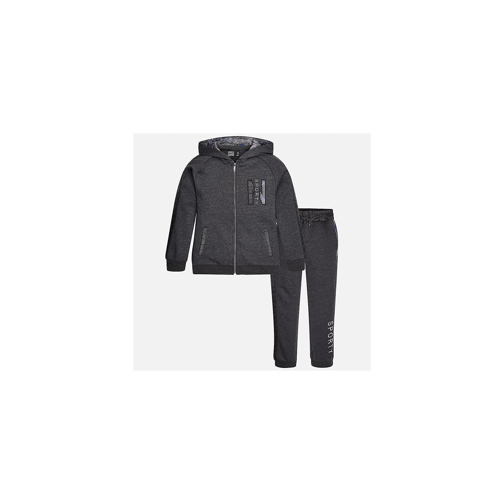 Спортивный костюм для мальчика MayoralКомплекты<br>Характеристики товара:<br><br>• цвет: серый<br>• комплектация: курточка и брюки<br>• состав ткани курточки: 60% хлопок, 40% полиэстер<br>• состав ткани брюк: 60% хлопок, 40% полиэстер<br>• длинные рукава<br>• застежка: молния<br>• пояс: резинка и шнурок<br>• особенности модели: спортивный стиль<br>• сезон: демисезон<br>• страна бренда: Испания<br>• страна изготовитель: Индия<br><br>В детском спортивном костюме от испанской компании Майорал ребенок будет выглядеть модно, а чувствовать себя - комфортно. Спортивный костюм для ребенка сделан материала с преобладанием натурального хлопка в составе. Серый комплект для занятий спортом хорошо сидит по фигуре.<br><br>Спортивный костюм для мальчика Mayoral (Майорал) можно купить в нашем интернет-магазине.<br><br>Ширина мм: 247<br>Глубина мм: 16<br>Высота мм: 140<br>Вес г: 225<br>Цвет: серый<br>Возраст от месяцев: 168<br>Возраст до месяцев: 180<br>Пол: Мужской<br>Возраст: Детский<br>Размер: 170,128/134,140,152,158,164<br>SKU: 6939006