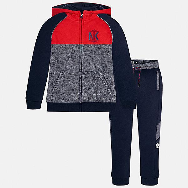 Спортивный костюм для мальчика MayoralКомплекты<br>Характеристики товара:<br><br>• цвет: темно-синий/красный/серый<br>• комплектация: курточка и брюки<br>• состав ткани курточки: 60% хлопок, 40% полиэстер<br>• состав ткани брюк: 60% хлопок, 40% полиэстер<br>• длинные рукава<br>• застежка: молния<br>• пояс: резинка и шнурок<br>• особенности модели: спортивный стиль<br>• сезон: демисезон<br>• страна бренда: Испания<br>• страна изготовитель: Индия<br><br>Целая команда талантливых европейских дизайнеров работала над созданием этого детского спортивного костюма. Спортивный костюм для ребенка сшит из качественного материала с преобладанием натурального хлопка в составе. Модный комплект для занятий спортом состоит из курточки с капюшоном и брюк.<br><br>Спортивный костюм для мальчика Mayoral (Майорал) можно купить в нашем интернет-магазине.<br><br>Ширина мм: 247<br>Глубина мм: 16<br>Высота мм: 140<br>Вес г: 225<br>Цвет: синий/красный<br>Возраст от месяцев: 168<br>Возраст до месяцев: 180<br>Пол: Мужской<br>Возраст: Детский<br>Размер: 170,128/134,140,152,158,164<br>SKU: 6939013