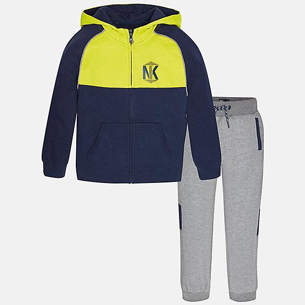 Спортивный костюм для мальчика MayoralКомплекты<br>Характеристики товара:<br><br>• цвет: серый/желтый/темно-синий<br>• комплектация: курточка и брюки<br>• состав ткани курточки: 60% хлопок, 40% полиэстер<br>• состав ткани брюк: 60% хлопок, 40% полиэстер<br>• длинные рукава<br>• застежка: молния<br>• пояс: резинка и шнурок<br>• особенности модели: спортивный стиль<br>• сезон: демисезон<br>• страна бренда: Испания<br>• страна изготовитель: Индия<br><br>Удобный спортивный костюм из трикотажа - отличный вариант одежды для отдыха и занятий спортом. Курточка из спортивного комплекта дополнена капюшоном и карманами. Удобный детский спортивный костюм от известного бренда Майорал выглядит аккуратно и стильно. <br><br>Спортивный костюм для мальчика Mayoral (Майорал) можно купить в нашем интернет-магазине.<br>Ширина мм: 247; Глубина мм: 16; Высота мм: 140; Вес г: 225; Цвет: желтый/серый; Возраст от месяцев: 96; Возраст до месяцев: 108; Пол: Мужской; Возраст: Детский; Размер: 128/134,170,164,158,152,140; SKU: 6939020;