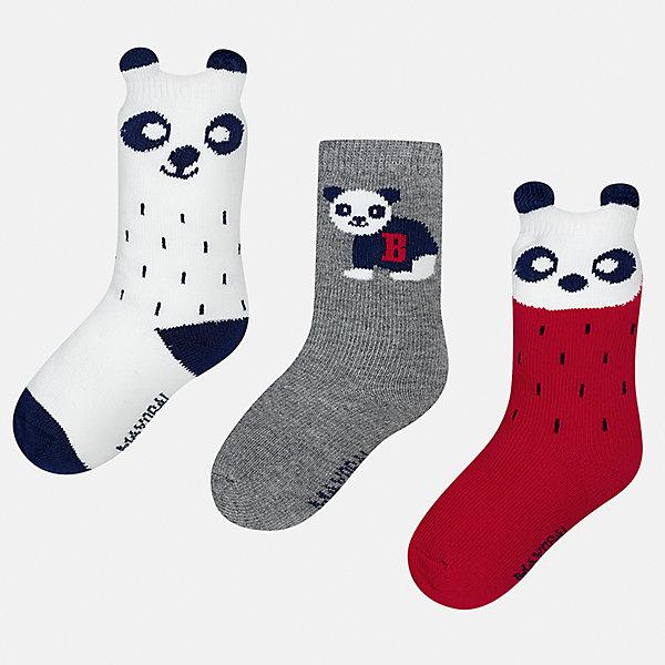 Носки (3 пары) для мальчика MayoralНоски<br>Характеристики товара:<br><br>• цвет: белый/серый/красный<br>• состав ткани: 70% хлопок, 27% полиамид, 3% эластан<br>• сезон: круглый год<br>• комплектация: 3 пары<br>• страна бренда: Испания<br>• страна изготовитель: Индия<br><br>Симпатичные носки для мальчика от популярного бренда Mayoral отличаются оригинальным декором. Детские носки смотрятся аккуратно и нарядно. В таких носках для детей от испанской компании Майорал ребенок будет выглядеть модно, а чувствовать себя - комфортно. <br><br>Носки (3 пары) для мальчика Mayoral (Майорал) можно купить в нашем интернет-магазине.<br><br>Ширина мм: 87<br>Глубина мм: 10<br>Высота мм: 105<br>Вес г: 115<br>Цвет: разноцветный<br>Возраст от месяцев: 12<br>Возраст до месяцев: 18<br>Пол: Мужской<br>Возраст: Детский<br>Размер: 19-22,22-24<br>SKU: 6939037
