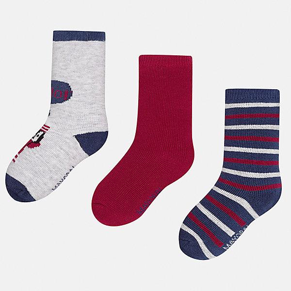 Носки (3 пары) для мальчика MayoralНоски<br>Характеристики товара:<br><br>• цвет: серый/бордовый/разноцветный<br>• состав ткани: 70% хлопок, 27% полиамид, 3% эластан<br>• сезон: круглый год<br>• комплектация: 3 пары<br>• страна бренда: Испания<br>• страна изготовитель: Индия<br><br>Дышащие носки для мальчика от популярного бренда Mayoral отличаются сдержанным декором. Детские носки смотрятся аккуратно и нарядно. В таких носках для детей от испанской компании Майорал ребенок будет выглядеть модно, а чувствовать себя - комфортно. <br><br>Носки (3 пары) для мальчика Mayoral (Майорал) можно купить в нашем интернет-магазине.<br><br>Ширина мм: 87<br>Глубина мм: 10<br>Высота мм: 105<br>Вес г: 115<br>Цвет: разноцветный<br>Возраст от месяцев: 12<br>Возраст до месяцев: 18<br>Пол: Мужской<br>Возраст: Детский<br>Размер: 19-22,22-24<br>SKU: 6939055