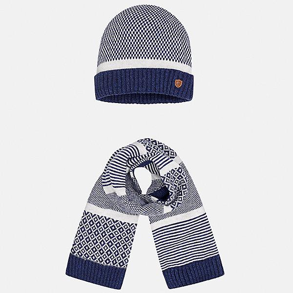 Комплект: шапка и шарф для мальчика MayoralШарфы, платки<br>Характеристики товара:<br><br>• цвет: синий-белый<br>• состав ткани: 60% хлопок, 30% полиамид, 10% шерсть<br>• сезон: демисезон<br>• комплектация: шапка, шарф<br>• страна бренда: Испания<br>• страна изготовитель: Индия<br><br>Детский демисезонный набор смотрится аккуратно и стильно. Модный комплект - вязаные шапка и шарф для мальчика от популярного бренда Mayoral - отличается декором в виде вязаного узора. В детской демисезонной одежде от испанской компании Майорал ребенок будет выглядеть модно, а чувствовать себя - комфортно. Целая команда европейских талантливых дизайнеров работала над созданием этой шапки и шарфа для ребенка. <br><br>Комплект: шапка и шарф для мальчика Mayoral (Майорал) можно купить в нашем интернет-магазине.<br><br>Ширина мм: 89<br>Глубина мм: 117<br>Высота мм: 44<br>Вес г: 155<br>Цвет: синий/белый<br>Возраст от месяцев: 12<br>Возраст до месяцев: 18<br>Пол: Мужской<br>Возраст: Детский<br>Размер: one size<br>SKU: 6939064