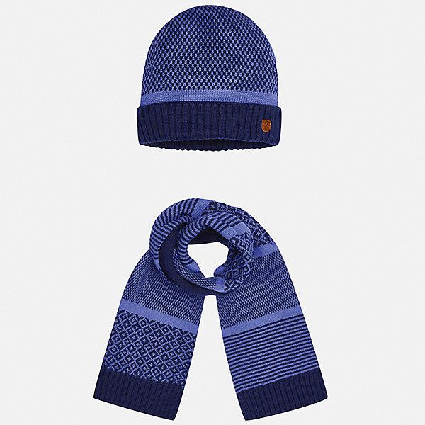 Комплект: шапка и шарф для мальчика MayoralКомплекты<br>Характеристики товара:<br><br>• цвет: фиолетовый<br>• состав ткани: 60% хлопок, 30% полиамид, 10% шерсть<br>• сезон: демисезон<br>• комплектация: шапка, шарф<br>• страна бренда: Испания<br>• страна изготовитель: Индия<br><br>Оригинальный детский комплект из шарфа и шапки смотрится аккуратно и стильно. Демисезонные шапка и шарф для мальчика от популярного бренда Mayoral помогут дополнить наряд и обеспечить комфорт в прохладную погоду. Для производства таких демисезонных комплектов популярный бренд Mayoral используют только качественную фурнитуру и материалы. Оригинальные и модные шапка и шарф от Майорал привлекут внимание и понравятся детям.<br><br>Комплект: шапка и шарф для мальчика Mayoral (Майорал) можно купить в нашем интернет-магазине.<br>Ширина мм: 89; Глубина мм: 117; Высота мм: 44; Вес г: 155; Цвет: фиолетовый; Возраст от месяцев: 12; Возраст до месяцев: 18; Пол: Мужской; Возраст: Детский; Размер: one size; SKU: 6939068;