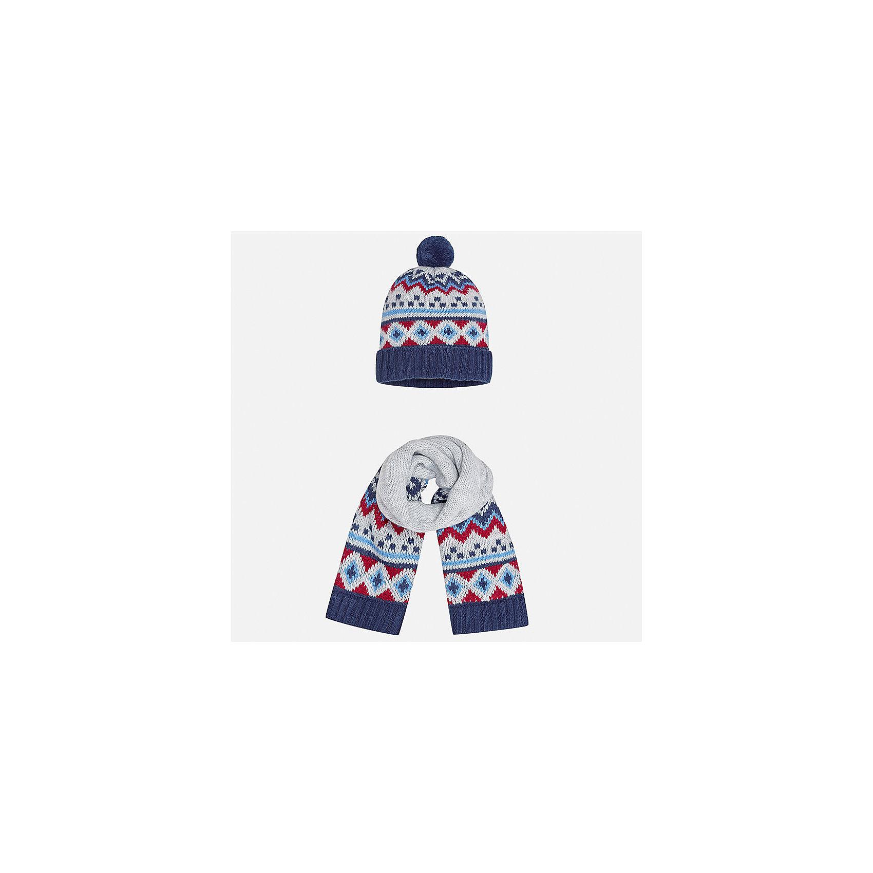 Комплект: шапка и шарф Mayoral для мальчикаШарфы, платки<br>Характеристики товара:<br><br>• цвет: сине-серый<br>• состав ткани: 85% акрил, 15% шерсть<br>• сезон: демисезон<br>• комплектация: шапка, шарф<br>• страна бренда: Испания<br>• страна изготовитель: Индия<br><br>Модный комплект - вязаные шапка и шарф для мальчика от популярного бренда Mayoral - отличается декором в виде вязаного узора. Детский демисезонный набор смотрится аккуратно и стильно. В детской демисезонной одежде от испанской компании Майорал ребенок будет выглядеть модно, а чувствовать себя - комфортно. Целая команда европейских талантливых дизайнеров работала над созданием этой шапки и шарфа для ребенка. <br><br>Комплект: шапка и шарф для мальчика Mayoral (Майорал) можно купить в нашем интернет-магазине.<br><br>Ширина мм: 89<br>Глубина мм: 117<br>Высота мм: 44<br>Вес г: 155<br>Цвет: сине-серый<br>Возраст от месяцев: 12<br>Возраст до месяцев: 18<br>Пол: Мужской<br>Возраст: Детский<br>Размер: one size<br>SKU: 6939070