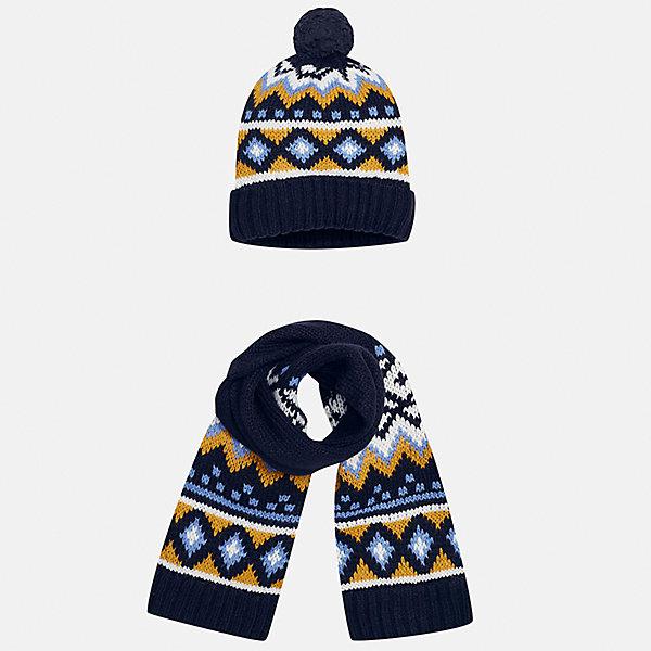 Комплект: шапка и шарф Mayoral для мальчикаШарфы, платки<br>Характеристики товара:<br><br>• цвет: темно-синий<br>• состав ткани: 85% акрил, 15% шерсть<br>• сезон: демисезон<br>• комплектация: шапка, шарф<br>• страна бренда: Испания<br>• страна изготовитель: Индия<br><br>Такой стильный набор из шапки и шарфа поможет обеспечить ребенку тепло и комфорт. Детский демисезонный комплект от бренда Майорал смотрится модно и оригинально. Шапка и шарф от испанской компании Mayoral отличаются оригинальным и стильным дизайном. Качество продукции неизменно очень высокое.<br><br>Комплект: шапка и шарф для мальчика Mayoral (Майорал) можно купить в нашем интернет-магазине.<br>Ширина мм: 89; Глубина мм: 117; Высота мм: 44; Вес г: 155; Цвет: темно-синий; Возраст от месяцев: 12; Возраст до месяцев: 18; Пол: Мужской; Возраст: Детский; Размер: one size; SKU: 6939072;