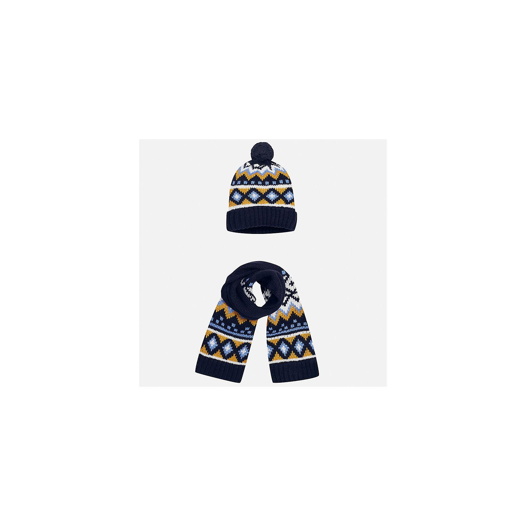 Комплект: шапка и шарф Mayoral для мальчикаШарфы, платки<br>Характеристики товара:<br><br>• цвет: темно-синий<br>• состав ткани: 85% акрил, 15% шерсть<br>• сезон: демисезон<br>• комплектация: шапка, шарф<br>• страна бренда: Испания<br>• страна изготовитель: Индия<br><br>Такой стильный набор из шапки и шарфа поможет обеспечить ребенку тепло и комфорт. Детский демисезонный комплект от бренда Майорал смотрится модно и оригинально. Шапка и шарф от испанской компании Mayoral отличаются оригинальным и стильным дизайном. Качество продукции неизменно очень высокое.<br><br>Комплект: шапка и шарф для мальчика Mayoral (Майорал) можно купить в нашем интернет-магазине.<br><br>Ширина мм: 89<br>Глубина мм: 117<br>Высота мм: 44<br>Вес г: 155<br>Цвет: темно-синий<br>Возраст от месяцев: 12<br>Возраст до месяцев: 18<br>Пол: Мужской<br>Возраст: Детский<br>Размер: one size<br>SKU: 6939072