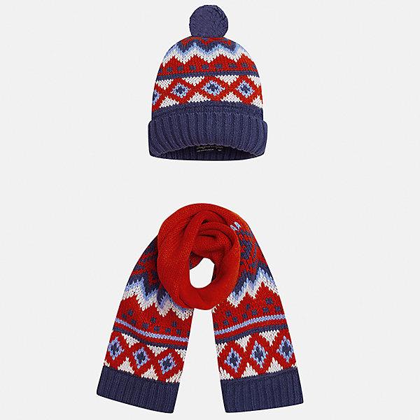 Комплект: шапка и шарф Mayoral для мальчикаШарфы, платки<br>Характеристики товара:<br><br>• цвет: красный/синий<br>• состав ткани: 85% акрил, 15% шерсть<br>• сезон: демисезон<br>• комплектация: шапка, шарф<br>• страна бренда: Испания<br>• страна изготовитель: Индия<br><br>Демисезонные шапка и шарф для мальчика от популярного бренда Mayoral помогут дополнить наряд и обеспечить комфорт в прохладную погоду. Оригинальный детский комплект из шарфа и шапки смотрится аккуратно и стильно. Для производства таких демисезонных комплектов популярный бренд Mayoral используют только качественную фурнитуру и материалы. Оригинальные и модные шапка и шарф от Майорал привлекут внимание и понравятся детям.<br><br>Комплект: шапка и шарф для мальчика Mayoral (Майорал) можно купить в нашем интернет-магазине.<br>Ширина мм: 89; Глубина мм: 117; Высота мм: 44; Вес г: 155; Цвет: синий/красный; Возраст от месяцев: 12; Возраст до месяцев: 18; Пол: Мужской; Возраст: Детский; Размер: one size; SKU: 6939074;