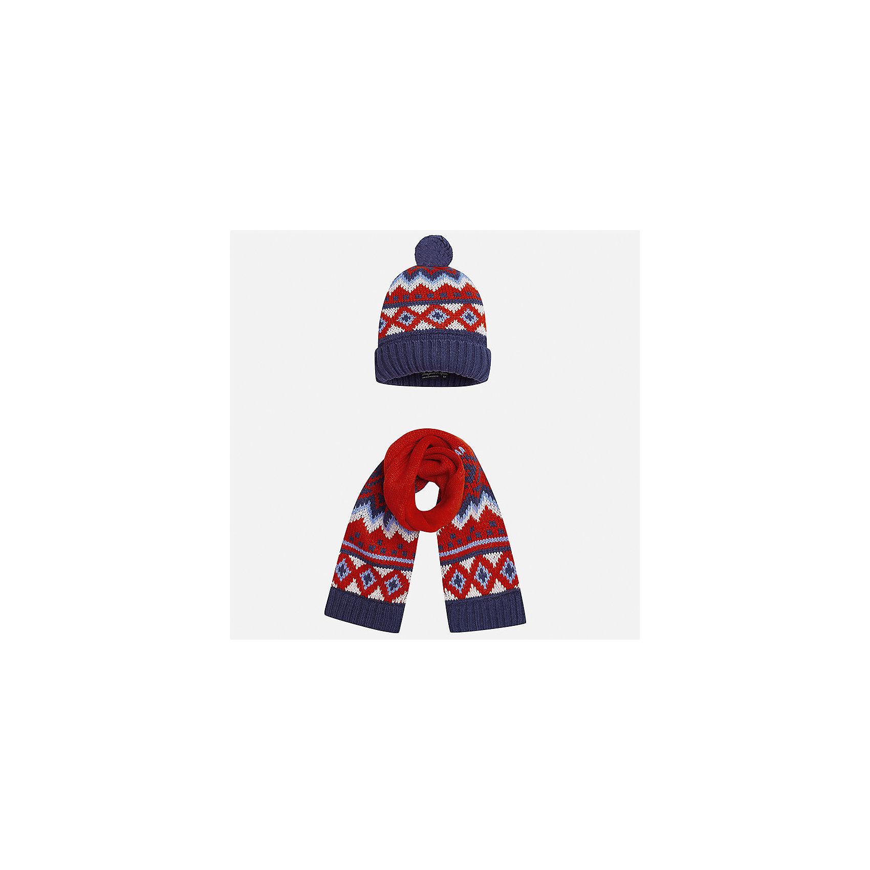 Комплект: шапка и шарф Mayoral для мальчикаШарфы, платки<br>Характеристики товара:<br><br>• цвет: красный/синий<br>• состав ткани: 85% акрил, 15% шерсть<br>• сезон: демисезон<br>• комплектация: шапка, шарф<br>• страна бренда: Испания<br>• страна изготовитель: Индия<br><br>Демисезонные шапка и шарф для мальчика от популярного бренда Mayoral помогут дополнить наряд и обеспечить комфорт в прохладную погоду. Оригинальный детский комплект из шарфа и шапки смотрится аккуратно и стильно. Для производства таких демисезонных комплектов популярный бренд Mayoral используют только качественную фурнитуру и материалы. Оригинальные и модные шапка и шарф от Майорал привлекут внимание и понравятся детям.<br><br>Комплект: шапка и шарф для мальчика Mayoral (Майорал) можно купить в нашем интернет-магазине.<br><br>Ширина мм: 89<br>Глубина мм: 117<br>Высота мм: 44<br>Вес г: 155<br>Цвет: синий/красный<br>Возраст от месяцев: 12<br>Возраст до месяцев: 18<br>Пол: Мужской<br>Возраст: Детский<br>Размер: one size<br>SKU: 6939074