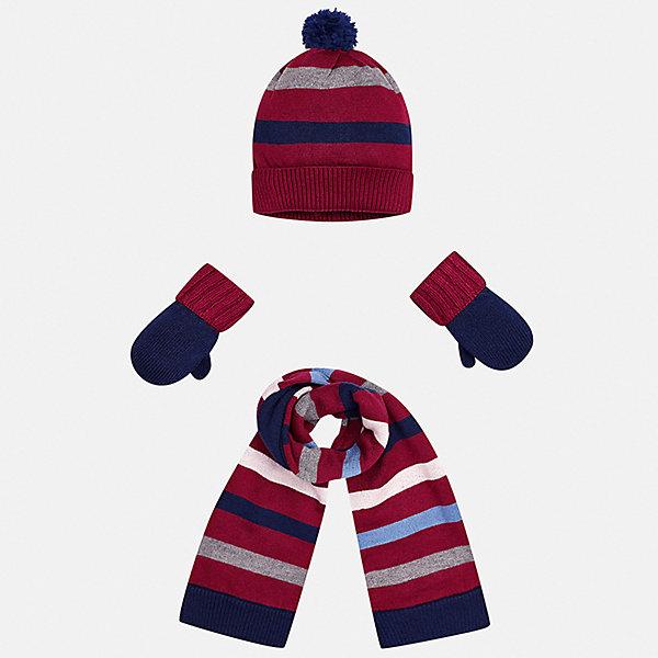 Комплект: шапка, шарф и варежки для мальчика MayoralКомплекты<br>Характеристики товара:<br><br>• цвет: красный/темно-синий<br>• состав ткани: 39% акрил, 26% вискоза, 26% полиамид, 9% ангора<br>• сезон: демисезон<br>• комплектация: шапка, шарф, варежки<br>• страна бренда: Испания<br>• страна изготовитель: Индия<br><br>Этот модный набор из шапки, варежек и шарфа поможет обеспечить ребенку тепло и комфорт. Детский демисезонный комплект от бренда Майорал смотрится модно и оригинально. Шапка, варежки и шарф от испанской компании Mayoral отличаются оригинальным и стильным дизайном. Качество продукции неизменно очень высокое.<br><br>Комплект: шапка, шарф и варежки для мальчика Mayoral (Майорал) можно купить в нашем интернет-магазине.<br>Ширина мм: 89; Глубина мм: 117; Высота мм: 44; Вес г: 155; Цвет: синий/красный; Возраст от месяцев: 12; Возраст до месяцев: 18; Пол: Мужской; Возраст: Детский; Размер: one size; SKU: 6939078;