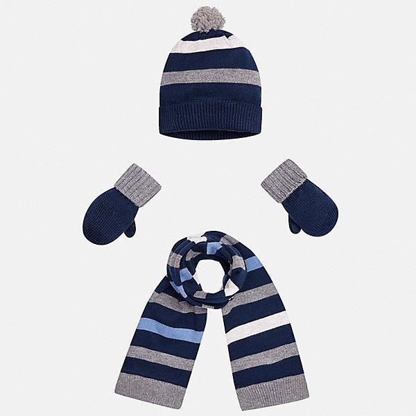 Комплект: шапка, шарф и варежки для мальчика MayoralКомплекты<br>Характеристики товара:<br><br>• цвет: синий/серый<br>• состав ткани: 39% акрил, 26% вискоза, 26% полиамид, 9% ангора<br>• сезон: демисезон<br>• комплектация: шапка, шарф, варежки<br>• страна бренда: Испания<br>• страна изготовитель: Индия<br><br>Оригинальный детский комплект из шарфа, варежек и шапки смотрится аккуратно и стильно. Для демисезонных комплектов для детей популярный бренд Mayoral использует качественную фурнитуру и материалы. Демисезонные шапка, варежки и шарф для мальчика помогут дополнить наряд и обеспечить комфорт в прохладную погоду. <br><br>Комплект: шапка, шарф и варежки для мальчика Mayoral (Майорал) можно купить в нашем интернет-магазине.<br><br>Ширина мм: 89<br>Глубина мм: 117<br>Высота мм: 44<br>Вес г: 155<br>Цвет: сине-серый<br>Возраст от месяцев: 12<br>Возраст до месяцев: 18<br>Пол: Мужской<br>Возраст: Детский<br>Размер: one size<br>SKU: 6939080
