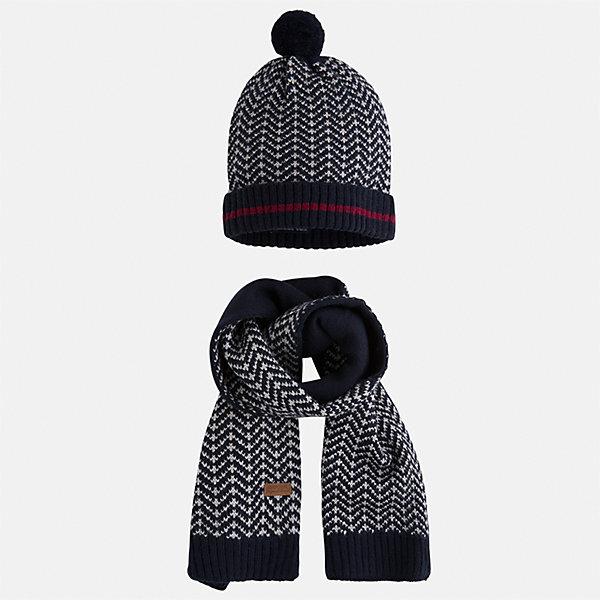 Комплект: шапка и шарф Mayoral для мальчикаШарфы, платки<br>Характеристики товара:<br><br>• цвет: темно-синий<br>• состав ткани: 85% акрил, 15% шерсть<br>• сезон: демисезон<br>• комплектация: шапка, шарф<br>• страна бренда: Испания<br>• страна изготовитель: Индия<br><br>Этот стильный набор из шапки и шарфа поможет обеспечить ребенку тепло и комфорт. Детский демисезонный комплект от бренда Майорал смотрится модно и оригинально. Шапка и шарф от испанской компании Mayoral отличаются оригинальным и стильным дизайном. Качество продукции неизменно очень высокое.<br><br>Комплект: шапка и шарф для мальчика Mayoral (Майорал) можно купить в нашем интернет-магазине.<br><br>Ширина мм: 89<br>Глубина мм: 117<br>Высота мм: 44<br>Вес г: 155<br>Цвет: темно-синий<br>Возраст от месяцев: 24<br>Возраст до месяцев: 36<br>Пол: Мужской<br>Возраст: Детский<br>Размер: 50,54,52<br>SKU: 6939248