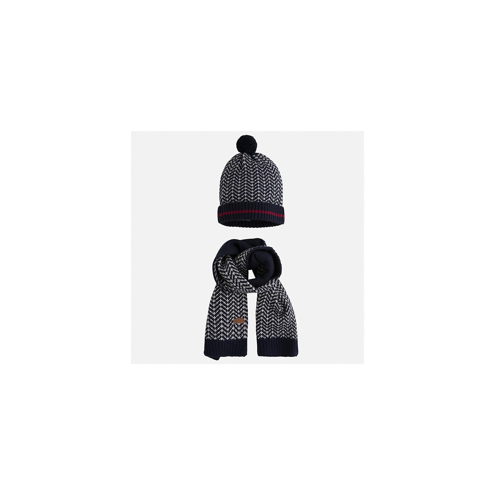 Комплект: шапка и шарф Mayoral для мальчикаШарфы, платки<br>Характеристики товара:<br><br>• цвет: синий<br>• состав ткани: 85% акрил, 15% шерсть<br>• сезон: демисезон<br>• комплектация: шапка, шарф<br>• страна бренда: Испания<br>• страна изготовитель: Индия<br><br>Этот стильный набор из шапки и шарфа поможет обеспечить ребенку тепло и комфорт. Детский демисезонный комплект от бренда Майорал смотрится модно и оригинально. Шапка и шарф от испанской компании Mayoral отличаются оригинальным и стильным дизайном. Качество продукции неизменно очень высокое.<br><br>Комплект: шапка и шарф для мальчика Mayoral (Майорал) можно купить в нашем интернет-магазине.<br><br>Ширина мм: 89<br>Глубина мм: 117<br>Высота мм: 44<br>Вес г: 155<br>Цвет: синий<br>Возраст от месяцев: 72<br>Возраст до месяцев: 84<br>Пол: Мужской<br>Возраст: Детский<br>Размер: 54,50,52<br>SKU: 6939248