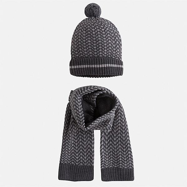 Комплект: шапка и шарф Mayoral для мальчикаШарфы, платки<br>Характеристики товара:<br><br>• цвет: серый<br>• состав ткани: 60% хлопок, 30% полиамид, 10% шерсть<br>• сезон: демисезон<br>• комплектация: шапка, шарф<br>• страна бренда: Испания<br>• страна изготовитель: Индия<br><br>Демисезонные шапка и шарф для мальчика от популярного бренда Mayoral помогут дополнить наряд и обеспечить комфорт в прохладную погоду. Для производства таких демисезонных комплектов популярный бренд Mayoral используют только качественную фурнитуру и материалы. Оригинальные и модные шапка и шарф от Майорал привлекут внимание и понравятся детям. Детский комплект из шарфа и шапки смотрится аккуратно и стильно. <br><br>Комплект: шапка и шарф для мальчика Mayoral (Майорал) можно купить в нашем интернет-магазине.<br>Ширина мм: 89; Глубина мм: 117; Высота мм: 44; Вес г: 155; Цвет: серый; Возраст от месяцев: 24; Возраст до месяцев: 36; Пол: Мужской; Возраст: Детский; Размер: 50,54,52; SKU: 6939252;