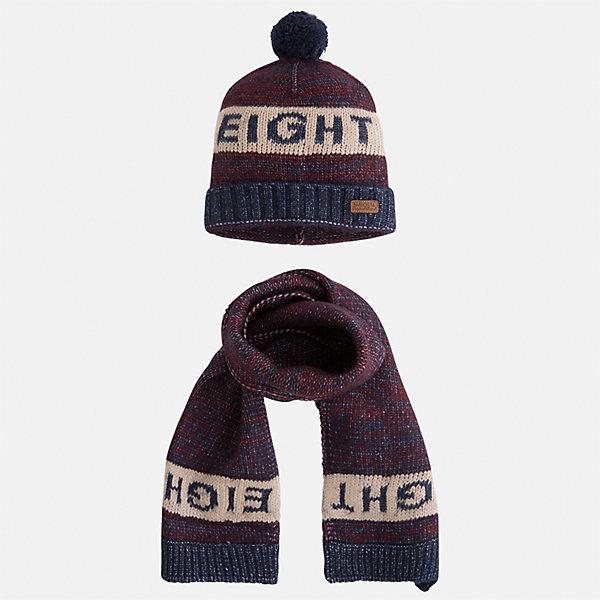 Комплект: шапка и шарф для мальчика MayoralКомплекты<br>Характеристики товара:<br><br>• цвет: бордовый/бежевый<br>• состав ткани: 57% акрил, 47% полиамид<br>• сезон: демисезон<br>• комплектация: шапка, шарф<br>• страна бренда: Испания<br>• страна изготовитель: Индия<br><br>Удобный комплект - вязаные шапка и шарф для мальчика от популярного бренда Mayoral - отличается декором в виде вязаного узора. Детский демисезонный набор смотрится аккуратно и стильно. В детской демисезонной одежде от испанской компании Майорал ребенок будет выглядеть модно, а чувствовать себя - комфортно. Целая команда европейских талантливых дизайнеров работала над созданием этой шапки и шарфа для ребенка. <br><br>Комплект: шапка и шарф для мальчика Mayoral (Майорал) можно купить в нашем интернет-магазине.<br>Ширина мм: 89; Глубина мм: 117; Высота мм: 44; Вес г: 155; Цвет: бордовый/бежевый; Возраст от месяцев: 72; Возраст до месяцев: 84; Пол: Мужской; Возраст: Детский; Размер: 54,50,52; SKU: 6939256;