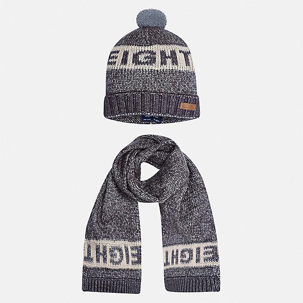 Комплект: шапка и шарф для мальчика MayoralГоловные уборы<br>Характеристики товара:<br><br>• цвет: серый<br>• состав ткани: 57% акрил, 47% полиамид<br>• сезон: демисезон<br>• комплектация: шапка, шарф<br>• страна бренда: Испания<br>• страна изготовитель: Индия<br><br>Шапка и шарф от испанской компании Mayoral отличаются оригинальным и стильным дизайном. Качество продукции неизменно очень высокое. Этот стильный набор из шапки и шарфа поможет обеспечить ребенку тепло и комфорт. Детский демисезонный комплект от бренда Майорал смотрится модно и оригинально. <br><br>Комплект: шапка и шарф для мальчика Mayoral (Майорал) можно купить в нашем интернет-магазине.<br>Ширина мм: 89; Глубина мм: 117; Высота мм: 44; Вес г: 155; Цвет: серый; Возраст от месяцев: 24; Возраст до месяцев: 36; Пол: Мужской; Возраст: Детский; Размер: 50,54,52; SKU: 6939260;