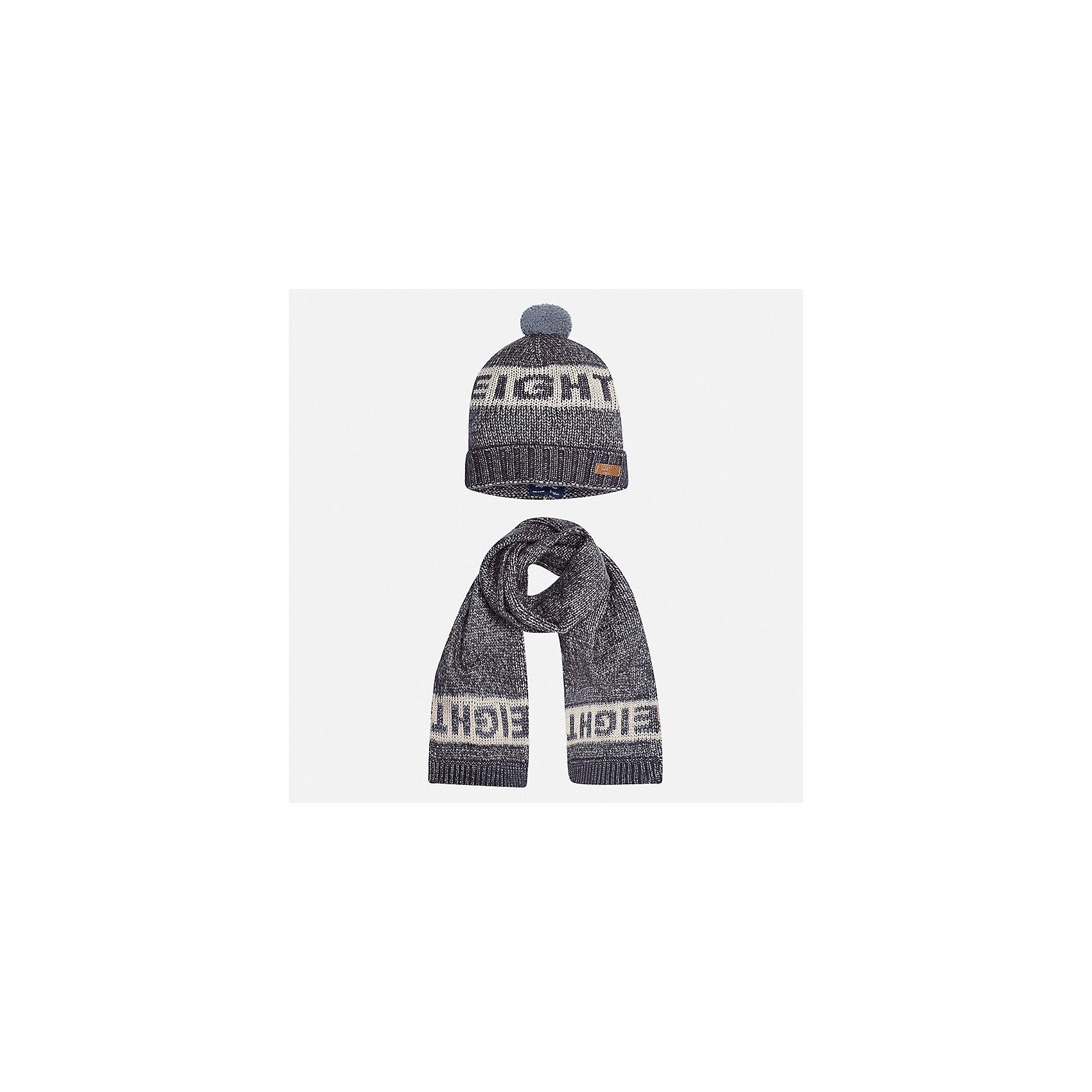 Комплект: шапка и шарф для мальчика MayoralГоловные уборы<br>Характеристики товара:<br><br>• цвет: серый<br>• состав ткани: 57% акрил, 47% полиамид<br>• сезон: демисезон<br>• комплектация: шапка, шарф<br>• страна бренда: Испания<br>• страна изготовитель: Индия<br><br>Шапка и шарф от испанской компании Mayoral отличаются оригинальным и стильным дизайном. Качество продукции неизменно очень высокое. Этот стильный набор из шапки и шарфа поможет обеспечить ребенку тепло и комфорт. Детский демисезонный комплект от бренда Майорал смотрится модно и оригинально. <br><br>Комплект: шапка и шарф для мальчика Mayoral (Майорал) можно купить в нашем интернет-магазине.<br><br>Ширина мм: 89<br>Глубина мм: 117<br>Высота мм: 44<br>Вес г: 155<br>Цвет: серый<br>Возраст от месяцев: 72<br>Возраст до месяцев: 84<br>Пол: Мужской<br>Возраст: Детский<br>Размер: 54,50,52<br>SKU: 6939260