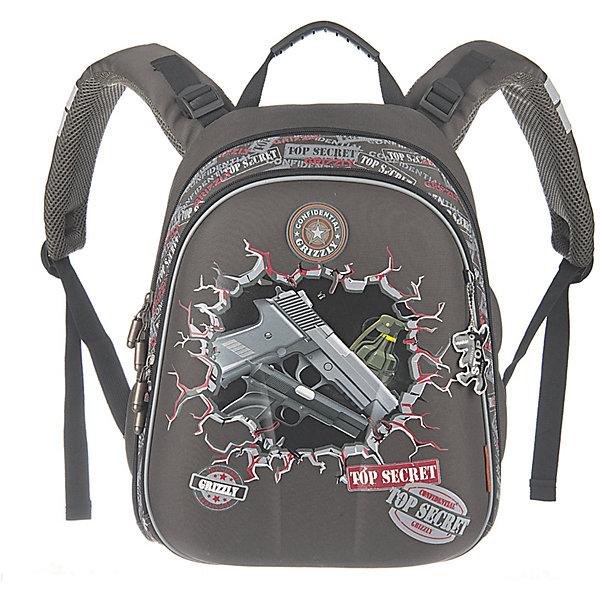 Рюкзак школьный Grizzly, темно-серыйРюкзаки<br>Рюкзак школьный, два отделения, внутренний карман-пенал для карандашей, разделительная перегородка-органайзер, жесткая анатомическая спинка, дополнительная ручка-петля, укрепленные лямки с возможностью регулировки размера под рост, брелок-игрушка<br><br>Ширина мм: 290<br>Глубина мм: 200<br>Высота мм: 390<br>Вес г: 1210<br>Возраст от месяцев: 72<br>Возраст до месяцев: 2147483647<br>Пол: Мужской<br>Возраст: Детский<br>SKU: 6939808