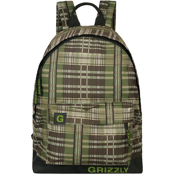 Рюкзак Grizzly, клетка черно-зеленая