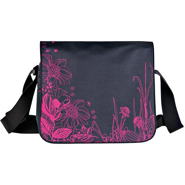 Сумка школьная Grizzly, черный-фуксияШкольные сумки<br>Молодежная сумка, два отделения, клапан на липучках, передний карман, плоский передний карман на молнии, внутренний карман на молнии, регулируемый плечевой ремень<br>Ширина мм: 335; Глубина мм: 100; Высота мм: 280; Вес г: 465; Возраст от месяцев: 120; Возраст до месяцев: 2147483647; Пол: Женский; Возраст: Детский; SKU: 6939822;