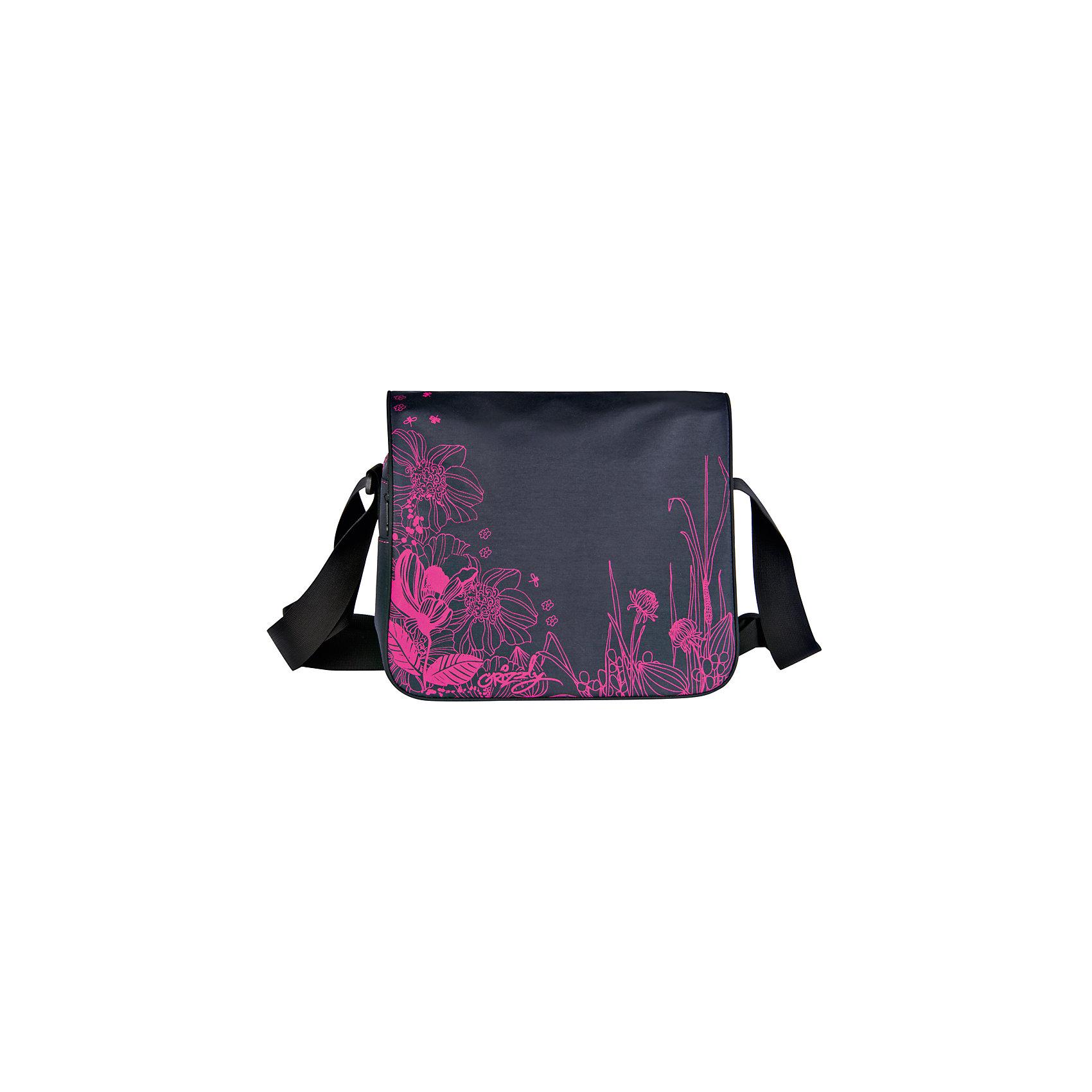 Сумка школьная Grizzly, черный-фуксияШкольные сумки<br>Молодежная сумка, два отделения, клапан на липучках, передний карман, плоский передний карман на молнии, внутренний карман на молнии, регулируемый плечевой ремень<br><br>Ширина мм: 335<br>Глубина мм: 100<br>Высота мм: 280<br>Вес г: 465<br>Возраст от месяцев: 120<br>Возраст до месяцев: 2147483647<br>Пол: Женский<br>Возраст: Детский<br>SKU: 6939822