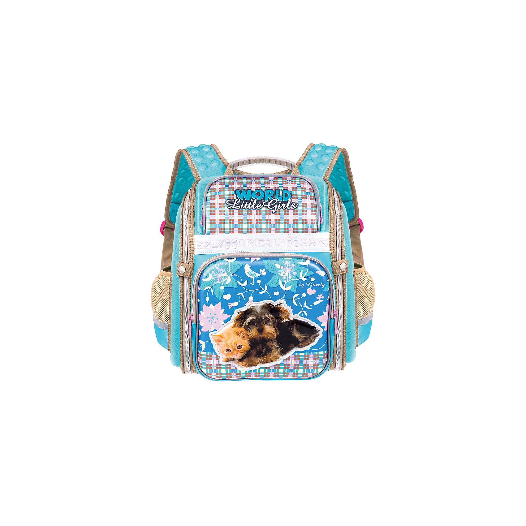 Ранец Grizzly без наполнения, голубойРанцы<br>Рюкзак школьный, одно отделение, два объемных кармана на молнии на передней стенке, боковые карманы из сетки, внутренний карман-пенал для карандашей, внутренний составной пенал-органайзер, жесткая анатомическая спинка, дополнительная ручка-петля, укрепленные лямки, брелок-игрушка, светоотражающие элементы с четырех сторон<br><br>Ширина мм: 300<br>Глубина мм: 160<br>Высота мм: 370<br>Вес г: 843<br>Возраст от месяцев: 72<br>Возраст до месяцев: 2147483647<br>Пол: Женский<br>Возраст: Детский<br>SKU: 6939825