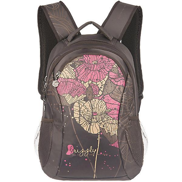 Рюкзак Grizzly, коричневыйРюкзаки<br>Рюкзак женский с двумя отделениями, с передним карманом на молнии, боковыми карманами из сетки, внутренним карманом-пеналом, с жёсткой спинкой с мягкими вставками, укреплёнными лямками, ручкой для переноски<br><br>Ширина мм: 300<br>Глубина мм: 180<br>Высота мм: 430<br>Вес г: 888<br>Возраст от месяцев: 72<br>Возраст до месяцев: 2147483647<br>Пол: Женский<br>Возраст: Детский<br>SKU: 6939830