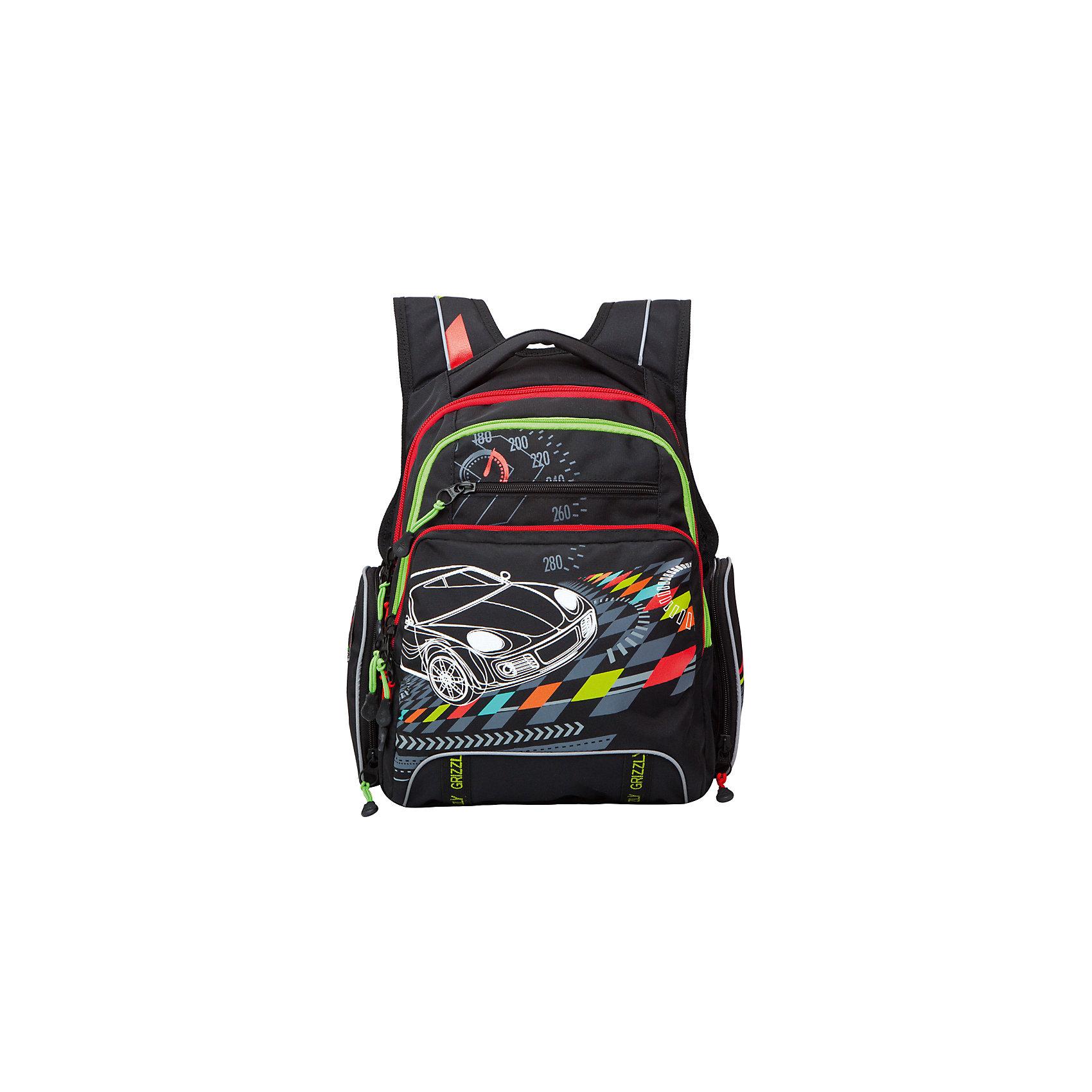 Рюкзак школьный Grizzly, черныйРюкзаки<br>Рюкзак школьный, два отделения, карман на передней стенке, объемный карман на молнии на передней стенке, объемные боковые карманы на молнии, внутренний карман на молнии, внутренний карман-пенал для карандашей, анатомическая спинка, мягкая укрепленная ручка, укрепленные лямки, светоотражающие элементы с четырех сторон<br><br>Ширина мм: 270<br>Глубина мм: 240<br>Высота мм: 430<br>Вес г: 1040<br>Возраст от месяцев: 72<br>Возраст до месяцев: 2147483647<br>Пол: Мужской<br>Возраст: Детский<br>SKU: 6939836