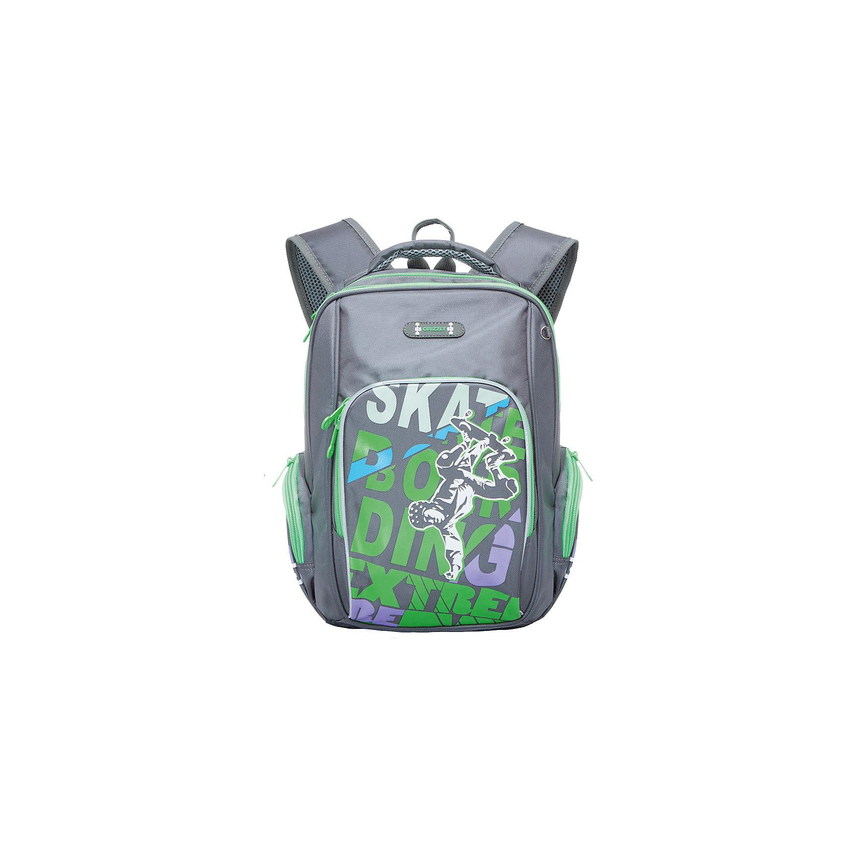 Рюкзак школьный Grizzly, серый - салатовыйРюкзаки<br>Рюкзак школьный, два отделения, объемный карман на молнии на передней стенке, объемные боковые карманы на молнии, внутренний карман, жесткая анатомическая спинка, мягкая укрепленная ручка, укрепленные лямки, светоотражающие элементы с четырех сторон<br><br>Ширина мм: 270<br>Глубина мм: 190<br>Высота мм: 380<br>Вес г: 763<br>Возраст от месяцев: 72<br>Возраст до месяцев: 2147483647<br>Пол: Мужской<br>Возраст: Детский<br>SKU: 6939837