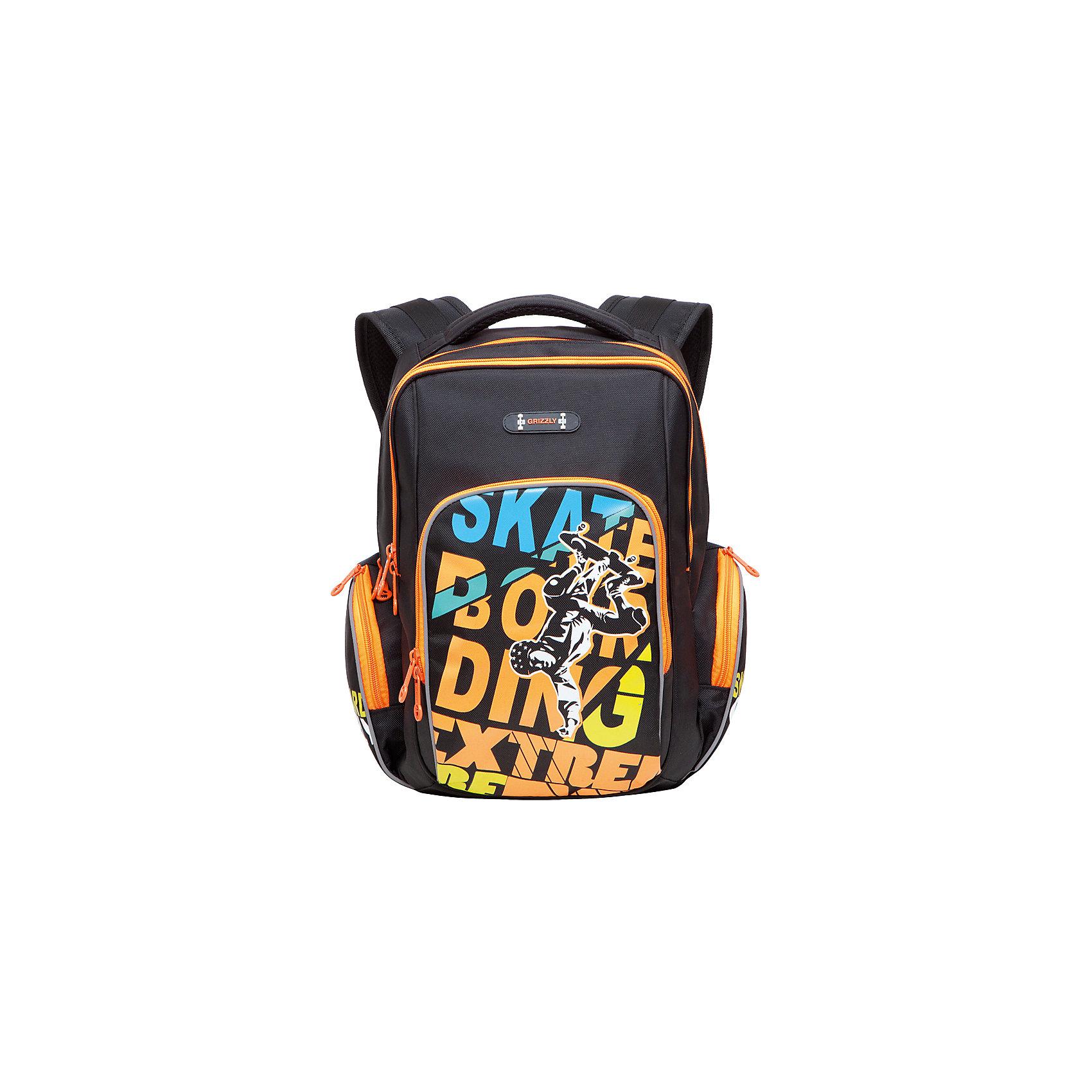 Рюкзак школьный Grizzly, черный - оранжевыйРюкзаки<br>Рюкзак школьный, два отделения, объемный карман на молнии на передней стенке, объемные боковые карманы на молнии, внутренний карман, жесткая анатомическая спинка, мягкая укрепленная ручка, укрепленные лямки, светоотражающие элементы с четырех сторон<br><br>Ширина мм: 270<br>Глубина мм: 190<br>Высота мм: 380<br>Вес г: 763<br>Возраст от месяцев: 72<br>Возраст до месяцев: 2147483647<br>Пол: Мужской<br>Возраст: Детский<br>SKU: 6939838