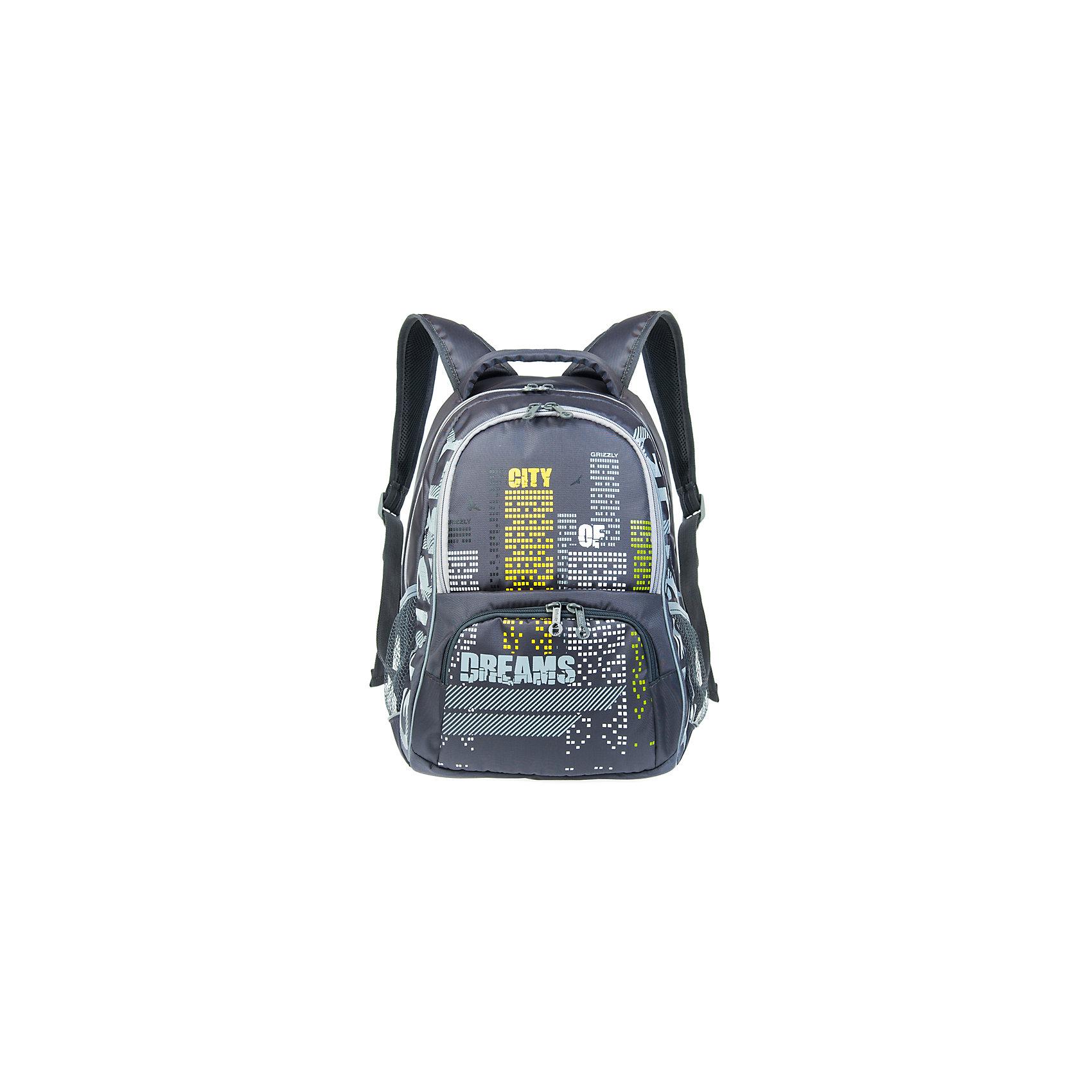 Рюкзак школьный Grizzly, серыйРюкзаки<br>Рюкзак школьный, два отделения, объемный карман на молнии на передней стенке, боковые карманы из сетки, внутренний подвесной карман на молнии, внутренний составной пенал-органайзер, жесткая анатомическая спинка, мягкая укрепленная ручка, укрепленные лямки, светоотражающие элементы с четырех сторон<br><br>Ширина мм: 320<br>Глубина мм: 200<br>Высота мм: 420<br>Вес г: 768<br>Возраст от месяцев: 72<br>Возраст до месяцев: 2147483647<br>Пол: Мужской<br>Возраст: Детский<br>SKU: 6939839