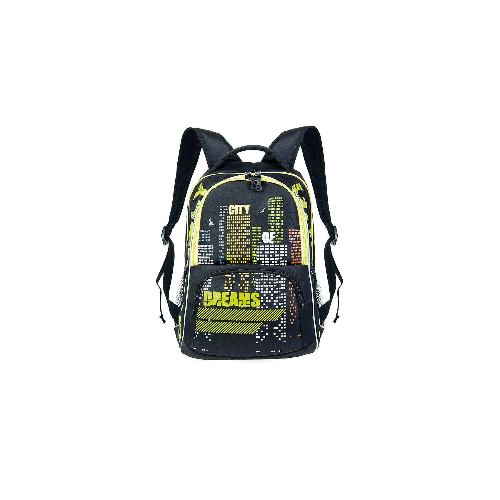 Рюкзак школьный Grizzly, черныйРюкзаки<br>Рюкзак школьный, два отделения, объемный карман на молнии на передней стенке, боковые карманы из сетки, внутренний подвесной карман на молнии, внутренний составной пенал-органайзер, жесткая анатомическая спинка, мягкая укрепленная ручка, укрепленные лямки, светоотражающие элементы с четырех сторон<br><br>Ширина мм: 320<br>Глубина мм: 200<br>Высота мм: 420<br>Вес г: 768<br>Возраст от месяцев: 72<br>Возраст до месяцев: 2147483647<br>Пол: Мужской<br>Возраст: Детский<br>SKU: 6939841