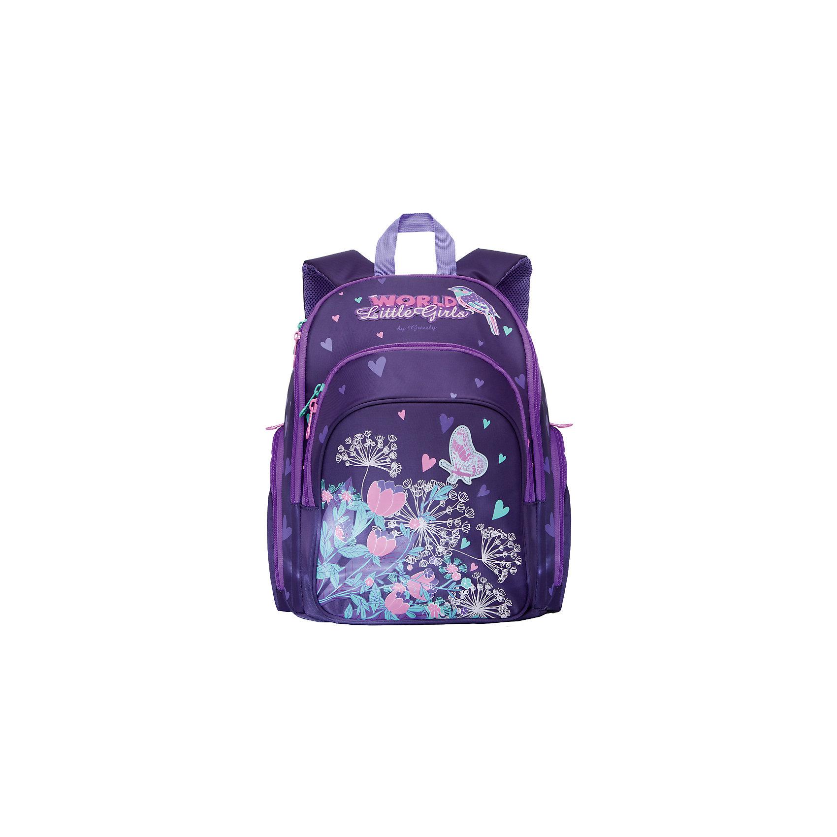 Рюкзак школьный Grizzly, фиолетовыйРюкзаки<br>Рюкзак школьный, два отделения, объемный карман на молнии на передней стенке, объемные боковые карманы на молнии, внутренний карман на молнии, откидное жесткое дно, разделительная перегородка-органайзер, жесткая анатомическая спинка, дополнительная ручка-петля, укрепленные лямки, светоотражающие элементы с четырех сторон<br><br>Ширина мм: 300<br>Глубина мм: 200<br>Высота мм: 360<br>Вес г: 980<br>Возраст от месяцев: 72<br>Возраст до месяцев: 132<br>Пол: Женский<br>Возраст: Детский<br>SKU: 6939845