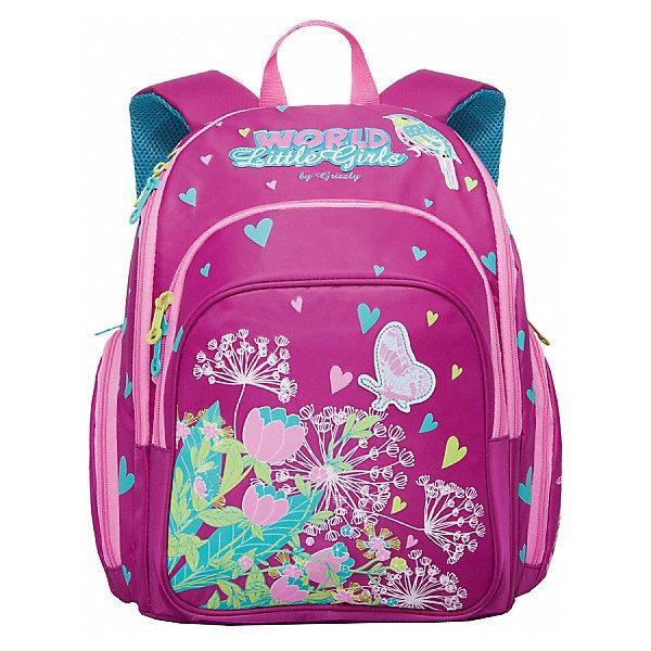 Рюкзак школьный Grizzly, лиловыйРюкзаки<br>Рюкзак школьный, два отделения, объемный карман на молнии на передней стенке, объемные боковые карманы на молнии, внутренний карман на молнии, откидное жесткое дно, разделительная перегородка-органайзер, жесткая анатомическая спинка, дополнительная ручка-петля, укрепленные лямки, светоотражающие элементы с четырех сторон<br><br>Ширина мм: 300<br>Глубина мм: 200<br>Высота мм: 360<br>Вес г: 980<br>Возраст от месяцев: 72<br>Возраст до месяцев: 2147483647<br>Пол: Женский<br>Возраст: Детский<br>SKU: 6939847