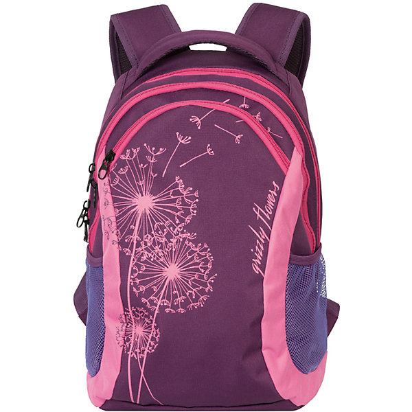 Рюкзак Grizzly, фиолетовый - лавандаРюкзаки<br>Рюкзак молодежный, два отделения, карман на молнии на передней стенке, боковые карманы из сетки, внутренний карман на молнии, внутренний составной пенал-органайзер, укрепленная спинка, мягкая укрепленная ручка, укрепленные лямки<br>Ширина мм: 300; Глубина мм: 180; Высота мм: 430; Вес г: 640; Возраст от месяцев: 72; Возраст до месяцев: 2147483647; Пол: Женский; Возраст: Детский; SKU: 6939853;