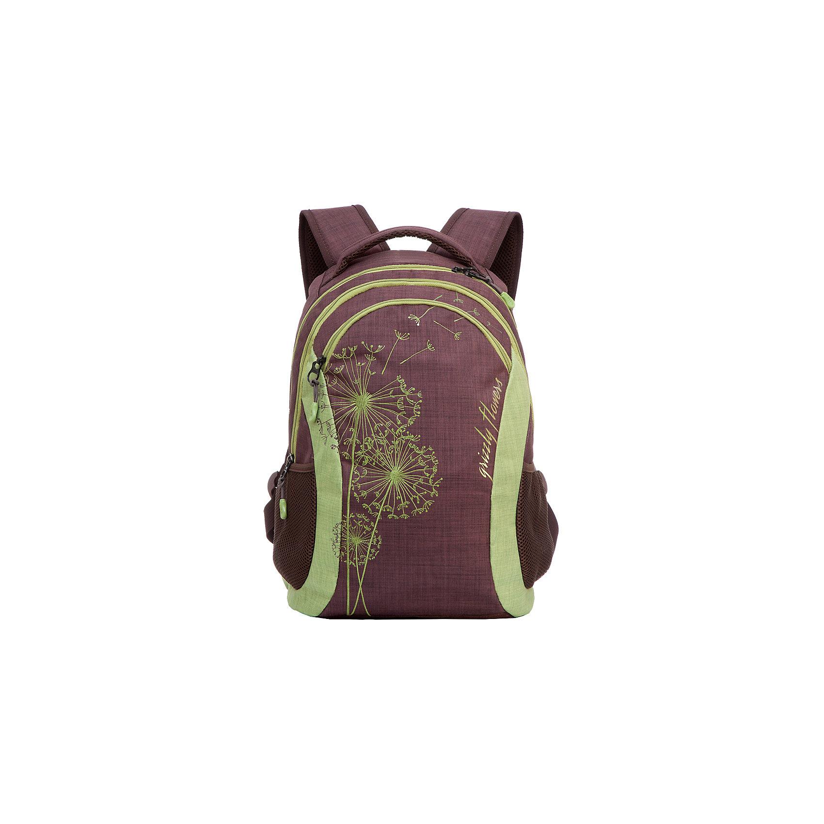 Рюкзак Grizzly, коричневый - салатовыйРюкзаки<br>Рюкзак молодежный, два отделения, карман на молнии на передней стенке, боковые карманы из сетки, внутренний карман на молнии, внутренний составной пенал-органайзер, укрепленная спинка, мягкая укрепленная ручка, укрепленные лямки<br><br>Ширина мм: 300<br>Глубина мм: 180<br>Высота мм: 430<br>Вес г: 640<br>Возраст от месяцев: 72<br>Возраст до месяцев: 2147483647<br>Пол: Женский<br>Возраст: Детский<br>SKU: 6939854