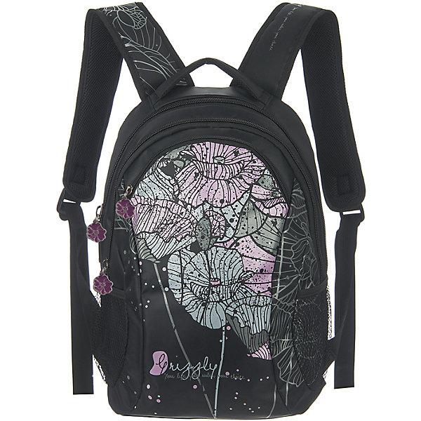 Рюкзак Grizzly, черныйРюкзаки<br>Рюкзак женский с двумя отделениями, с передним карманом на молнии, боковыми карманами из сетки, внутренним карманом-пеналом, с жёсткой спинкой с мягкими вставками, укреплёнными лямками, ручкой для переноски<br><br>Ширина мм: 300<br>Глубина мм: 180<br>Высота мм: 430<br>Вес г: 888<br>Возраст от месяцев: 72<br>Возраст до месяцев: 2147483647<br>Пол: Женский<br>Возраст: Детский<br>SKU: 6939856