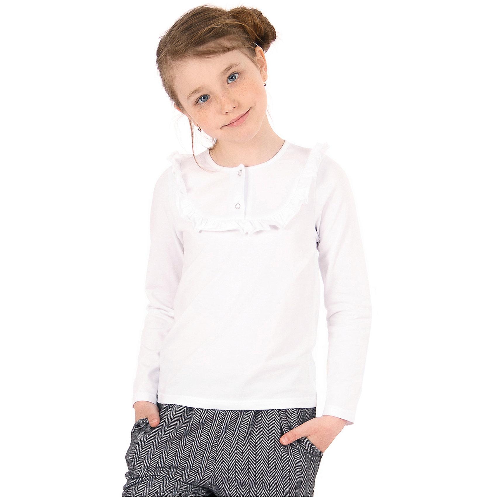 Футболка с длинным рукавом для девочки АпрельБлузки и рубашки<br>Характеристики товара:<br><br>• цвет: белый<br>• состав ткани: хлопок<br>• особенности: школьная<br>• длинные рукава<br>• воротник с рюшами<br>• сезон: круглый год<br>• страна бренда: Россия<br>• страна изготовитель: Россия<br><br>Хлопковая белая футболка с длинным рукавом для девочки Апрель - базовая вещь гардероба. Школьная одежда от компании Апрель - это удобно и красиво.<br><br>Это - отличный вариант практичной и стильной школьной одежды. Трикотажная футболка с длинным рукавом из белого трикотажа поможет ребенку выглядеть стильно и соответствовать школьному дресс-коду. <br><br>Футболку с длинным рукавом для девочки Апрель можно купить в нашем интернет-магазине.<br><br>Ширина мм: 230<br>Глубина мм: 40<br>Высота мм: 220<br>Вес г: 250<br>Цвет: белый<br>Возраст от месяцев: 120<br>Возраст до месяцев: 132<br>Пол: Женский<br>Возраст: Детский<br>Размер: 146,116,122,128,134,140<br>SKU: 6942151