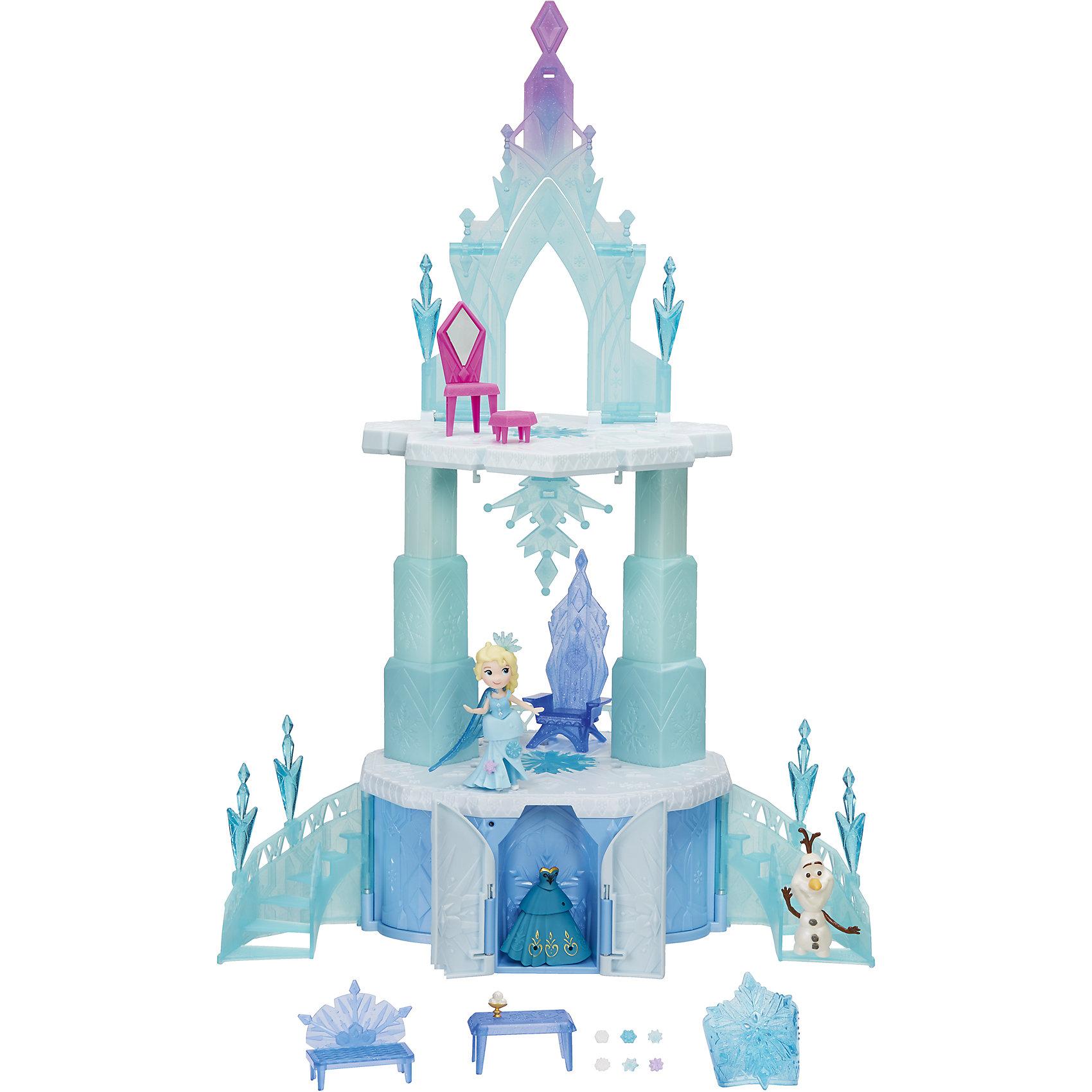 Большой замок для маленьких кукол Холодное сердце, HasbroДомики и мебель<br>Характеристики товара:<br><br>• возраст: от 4 лет;<br>• материал: пластик;<br>• в комплекте: мини-кукла, снеговик Олаф, замок, аксессуары, браслет;<br>• высота куклы: 7,5 см;<br>• высота замка: 50 см;<br>• тип батареек: 4 батарейки АА;<br>• наличие батареек: в комплект не входят;<br>• размер упаковки: 50х27,9х13,3 см;<br>• вес упаковки: 2,185 кг;<br>• страна производитель: Китай.<br><br>Большой замок для маленьких кукол «Холодное сердце» Hasbro создан по мотивам известного мультфильма Дисней. Замок выполнен в голубых тонах, как будто он сделан из льдинок. В замке живет принцесса Эльза и забавный снеговик Олаф. <br><br>В комплекте множество аксессуаров, которые помогут обустроить замок принцессы, а также голубой браслет для девочки. Игрушка оснащена световыми и звуковыми эффектами. Когда замок поднимается, светятся огоньки и звучит музыка.<br><br>Большой замок для маленьких кукол «Холодное сердце» Hasbro можно приобрести в нашем интернет-магазине.<br><br>Ширина мм: 133<br>Глубина мм: 279<br>Высота мм: 508<br>Вес г: 2185<br>Возраст от месяцев: 48<br>Возраст до месяцев: 2147483647<br>Пол: Женский<br>Возраст: Детский<br>SKU: 6943659