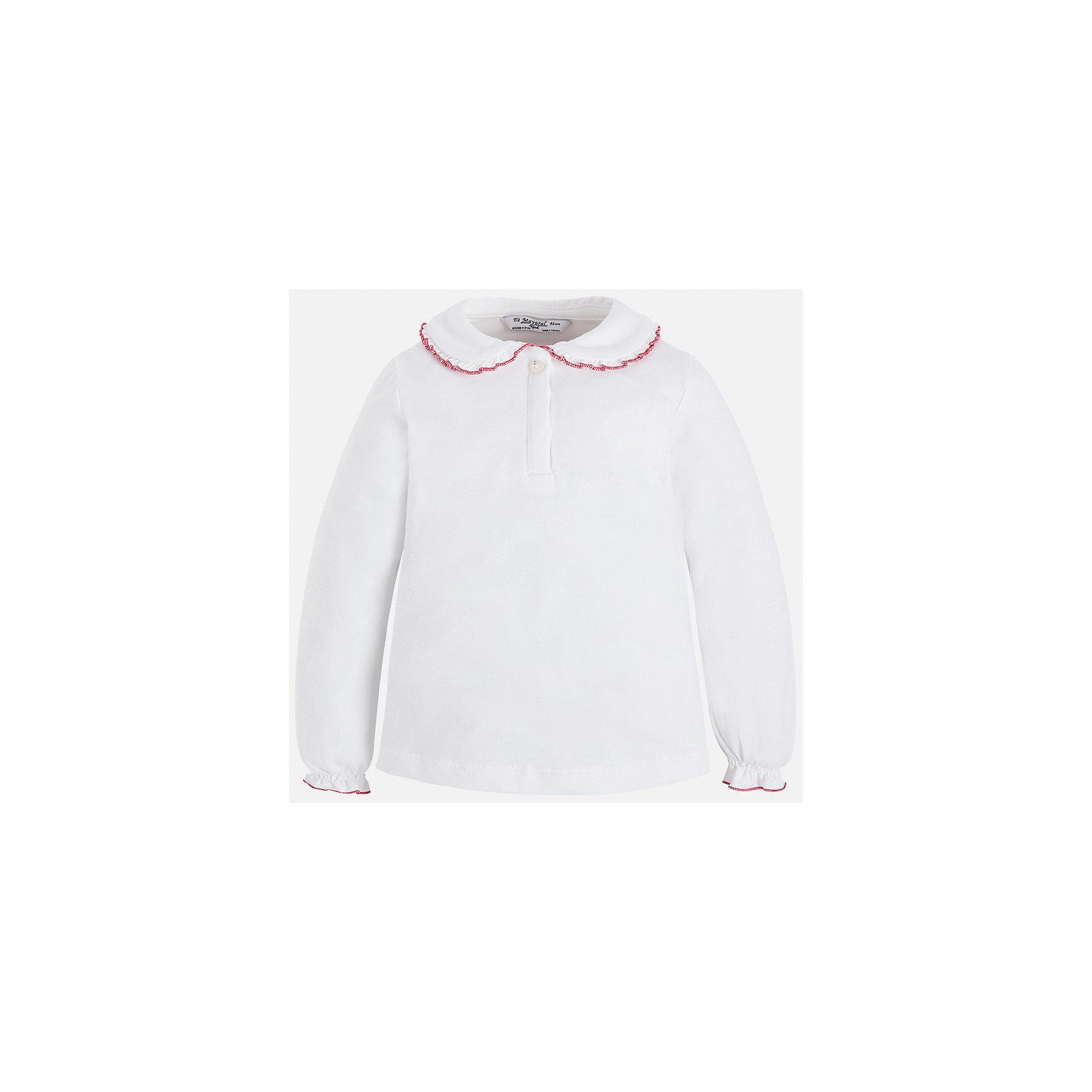 Футболка с длинным рукавом для девочки MayoralФутболки с длинным рукавом<br>Характеристики товара:<br><br>• цвет: белый<br>• состав ткани: 95% хлопок, 5% эластан<br>• сезон: демисезон<br>• особенности модели: отложной воротник<br>• застежка: пуговицы<br>• длинные рукава<br>• страна бренда: Испания<br>• страна изготовитель: Индия<br><br>Хлопковая блузка для девочки Mayoral удобно сидит по фигуре. Стильная детская блузка с длинным рукавом сделана из дышащей ткани. Отличный способ обеспечить ребенку тепло и комфорт - надеть детскую блузку от Mayoral. Детская блузка с длинным рукавом сшита из приятного на ощупь материала. <br><br>Блузку для девочки Mayoral (Майорал) можно купить в нашем интернет-магазине.<br><br>Ширина мм: 230<br>Глубина мм: 40<br>Высота мм: 220<br>Вес г: 250<br>Цвет: белый<br>Возраст от месяцев: 18<br>Возраст до месяцев: 24<br>Пол: Женский<br>Возраст: Детский<br>Размер: 92,134,128,122,116,110,104,98<br>SKU: 6944534