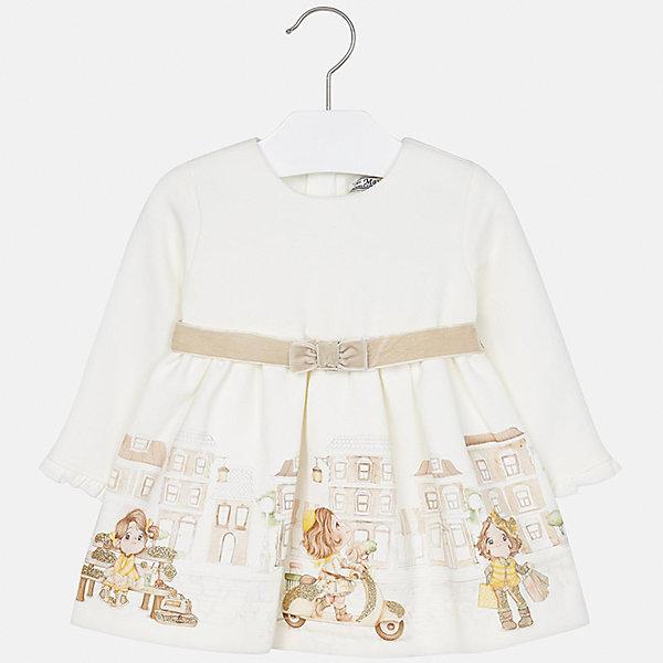 Платье для девочки MayoralПлатья и сарафаны<br>Характеристики товара:<br><br>• цвет: бежевый<br>• состав ткани верха: 95% хлопок, 5% эластан<br>• подкладка: 100% полиэстер<br>• сезон: демисезон<br>• особенности модели: нарядная<br>• застежка: молния<br>• длинные рукава<br>• страна бренда: Испания<br>• страна изготовитель: Индия<br><br>Симпатичное детское платье сделано из дышащего приятного на ощупь материала. Благодаря качественной хлопковой ткани детского платья для девочки создаются комфортные условия для тела. Платье с принтом для девочки отличается стильным продуманным дизайном.<br><br>Платье для девочки Mayoral (Майорал) можно купить в нашем интернет-магазине.<br><br>Ширина мм: 236<br>Глубина мм: 16<br>Высота мм: 184<br>Вес г: 177<br>Цвет: бежевый<br>Возраст от месяцев: 6<br>Возраст до месяцев: 9<br>Пол: Женский<br>Возраст: Детский<br>Размер: 74,98,92,86,80<br>SKU: 6944715