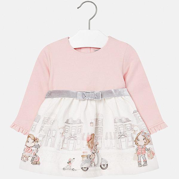 Платье для девочки MayoralПлатья и сарафаны<br>Характеристики товара:<br><br>• цвет: белый/розовый<br>• состав ткани верха: 95% хлопок, 5% эластан<br>• подкладка: 100% полиэстер<br>• сезон: демисезон<br>• особенности модели: нарядная<br>• застежка: молния<br>• длинные рукава<br>• страна бренда: Испания<br>• страна изготовитель: Индия<br><br>Детское платье отличается модным и продуманным дизайном. В платье для девочки от испанской компании Майорал ребенок будет выглядеть модно, а чувствовать себя - комфортно. Красивое платье с принтом для девочки от Майорал поможет обеспечить ребенку комфорт. <br><br>Платье для девочки Mayoral (Майорал) можно купить в нашем интернет-магазине.<br>Ширина мм: 236; Глубина мм: 16; Высота мм: 184; Вес г: 177; Цвет: розовый/белый; Возраст от месяцев: 6; Возраст до месяцев: 9; Пол: Женский; Возраст: Детский; Размер: 74,92,86,80,98; SKU: 6944721;