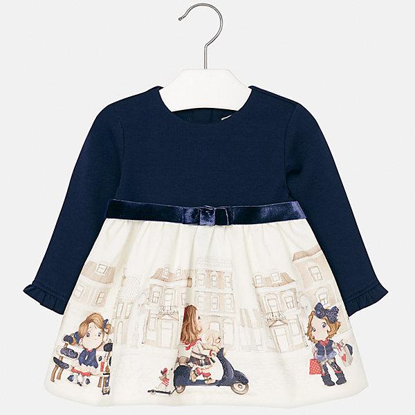 Платье для девочки MayoralПлатья<br>Характеристики товара:<br><br>• цвет: белый/синий<br>• состав ткани верха: 95% хлопок, 5% эластан<br>• подкладка: 100% полиэстер<br>• сезон: демисезон<br>• особенности модели: нарядная<br>• застежка: молния<br>• длинные рукава<br>• страна бренда: Испания<br>• страна изготовитель: Индия<br><br>Это детское платье сделано из дышащего приятного на ощупь материала. Благодаря качественной хлопковой ткани детского платья для девочки создаются комфортные условия для тела. Платье с принтом для девочки отличается стильным продуманным дизайном.<br><br>Платье для девочки Mayoral (Майорал) можно купить в нашем интернет-магазине.<br><br>Ширина мм: 236<br>Глубина мм: 16<br>Высота мм: 184<br>Вес г: 177<br>Цвет: синий/белый<br>Возраст от месяцев: 18<br>Возраст до месяцев: 24<br>Пол: Женский<br>Возраст: Детский<br>Размер: 92,74,98,86,80<br>SKU: 6944733