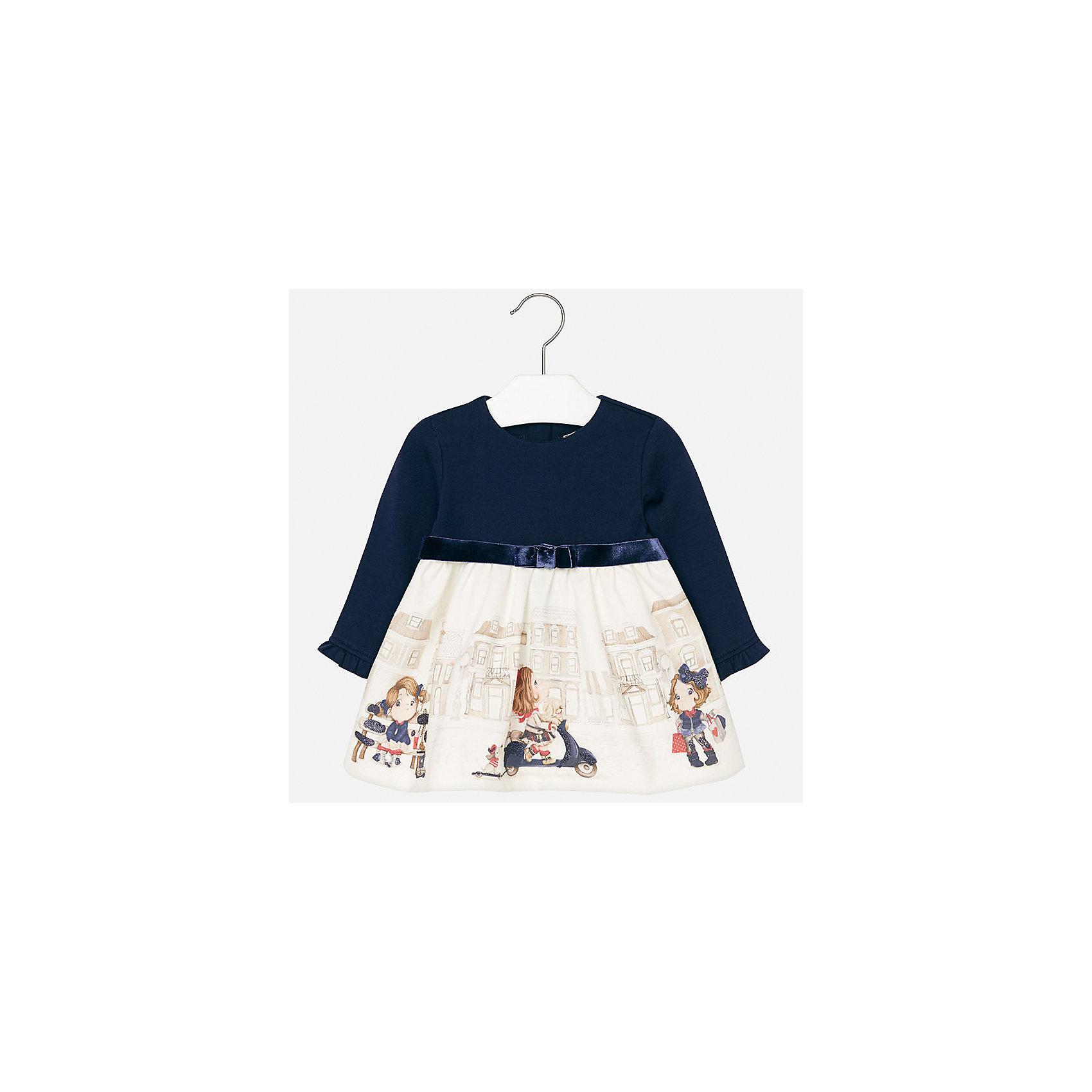 Платье для девочки MayoralПлатья<br>Характеристики товара:<br><br>• цвет: белый/синий<br>• состав ткани верха: 95% хлопок, 5% эластан<br>• подкладка: 100% полиэстер<br>• сезон: демисезон<br>• особенности модели: нарядная<br>• застежка: молния<br>• длинные рукава<br>• страна бренда: Испания<br>• страна изготовитель: Индия<br><br>Это детское платье сделано из дышащего приятного на ощупь материала. Благодаря качественной хлопковой ткани детского платья для девочки создаются комфортные условия для тела. Платье с принтом для девочки отличается стильным продуманным дизайном.<br><br>Платье для девочки Mayoral (Майорал) можно купить в нашем интернет-магазине.<br><br>Ширина мм: 236<br>Глубина мм: 16<br>Высота мм: 184<br>Вес г: 177<br>Цвет: синий/белый<br>Возраст от месяцев: 24<br>Возраст до месяцев: 36<br>Пол: Женский<br>Возраст: Детский<br>Размер: 98,74,80,86,92<br>SKU: 6944733